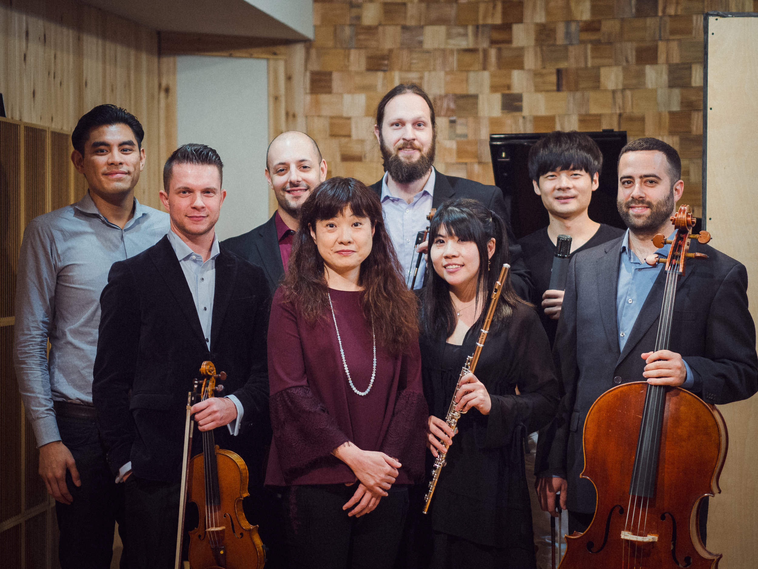 From Left to Right: Alexander Aniel (Director), Jacob Roege (Second Violinist), Christopher Ferrara (First Violinist), Saori Kobayashi (Composer), Stanley Beckwith (Viola), Maho Azuma (Flute), Wei Wang (Studio Engineer), Chad Schwartz (Cello)