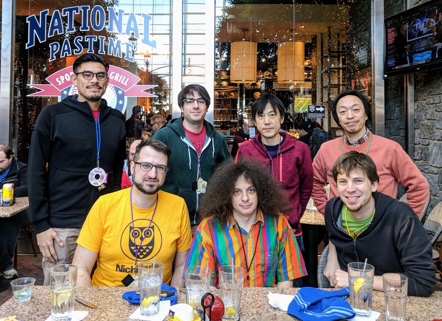 From top left: Brave Wave's BizDev Alexander Aniel, Kev Ragone (of Cheap Dinosaurs), Ninja Gaiden composer Keiji Yamagishi, Ninja Gaiden director Hideo Yoshizawa. Bottom left: Steve 'ap0c' Lakawicsz, Dino Lionetti (of Cheap Dinosaurs), Grant 'Stemage' Henry (of Metroid Metal).
