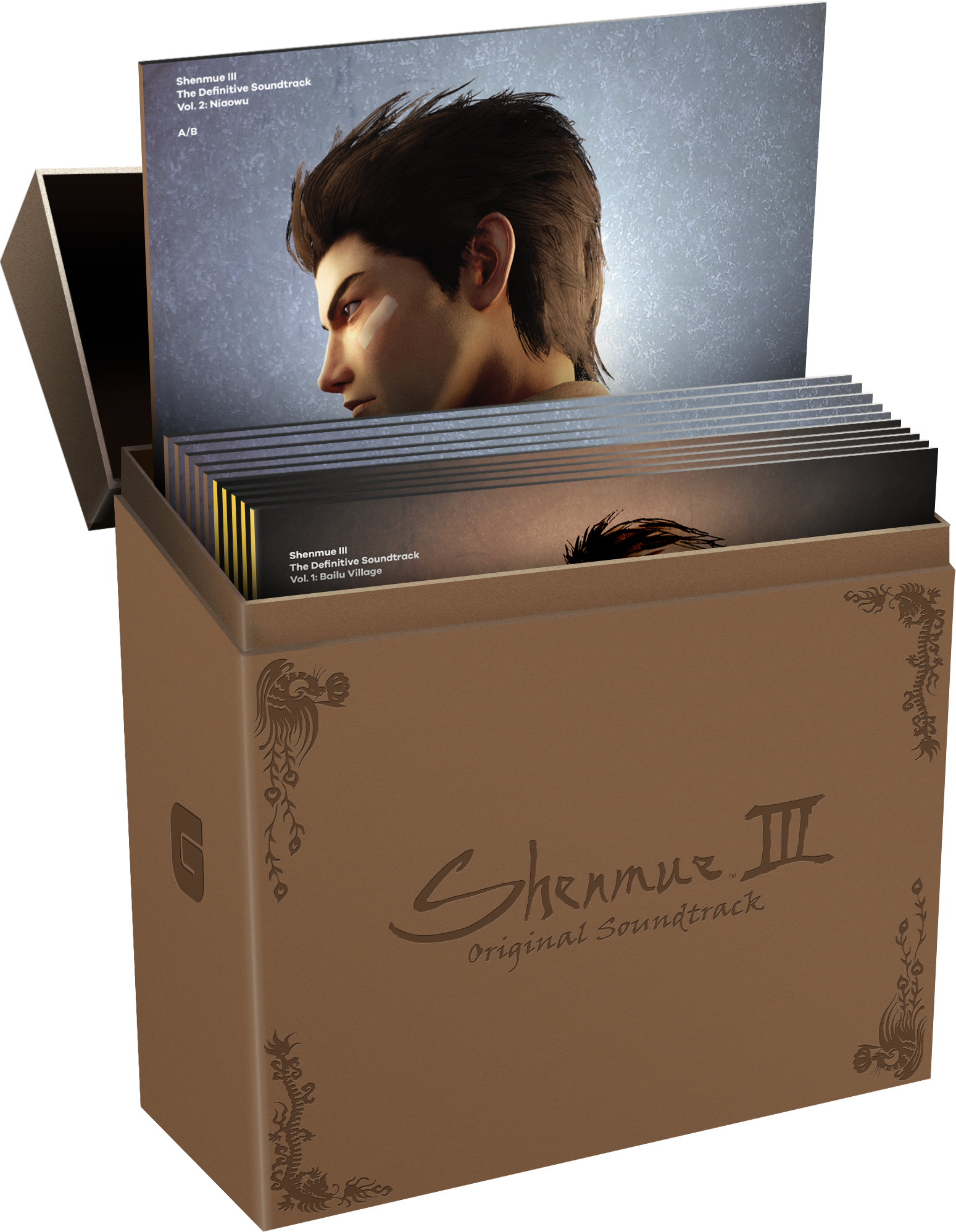 Shenmue III The Definitive Soundtrack Complete Collection (GS-020-CC) Mockup. Artwork is not final and subject to change.