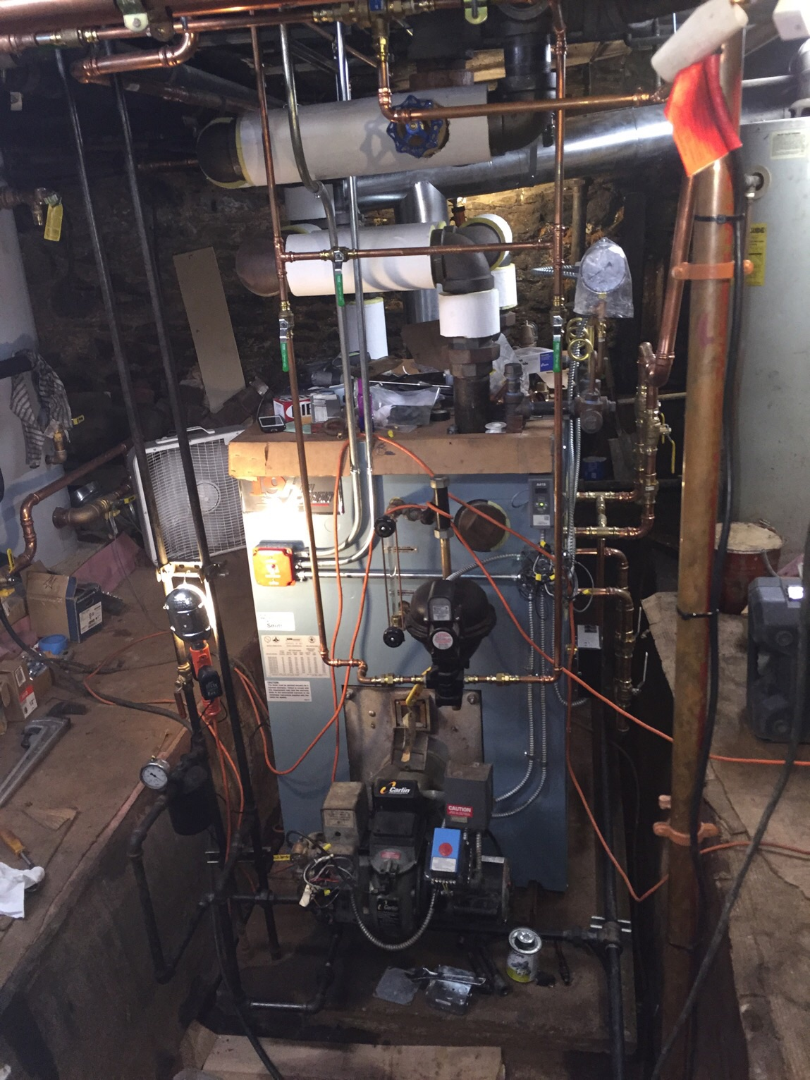 Almost done - new boiler operating but not complete