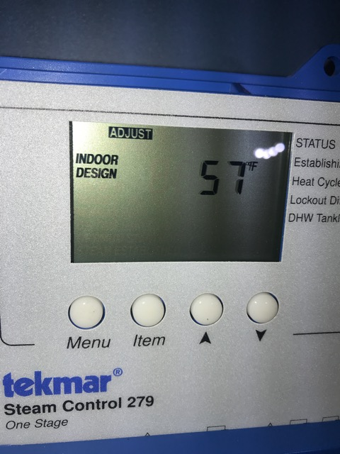 Less DESIGN TEMPERATURE  is less heat, higher temperature is more heat at warm weather. CHANGE 5F at the time. Wait for 1 day for results.