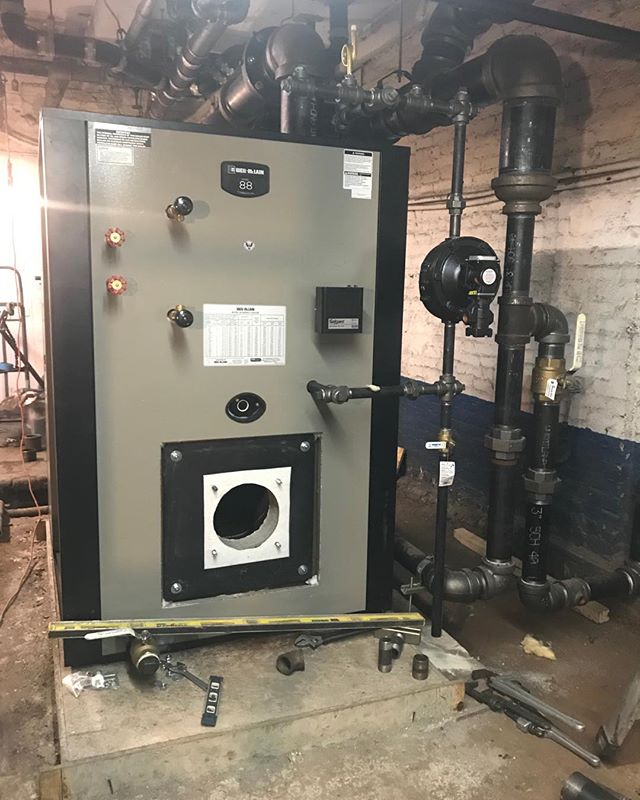 Boiler jacket and controls are being installed. #steam #boilers #steaminnyc #absolutemechanicalcoinc #highefficiencyheatingwithsteam