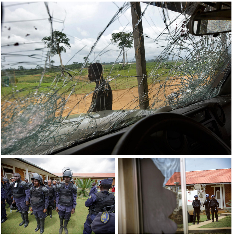 The view through a battered windshield the day after the riot, top. Liberian police muster in Butaw, left. Chinese peacekeepers from the United Nations were called in to the village to help restore calm. Photos by Kuni Takahashi.