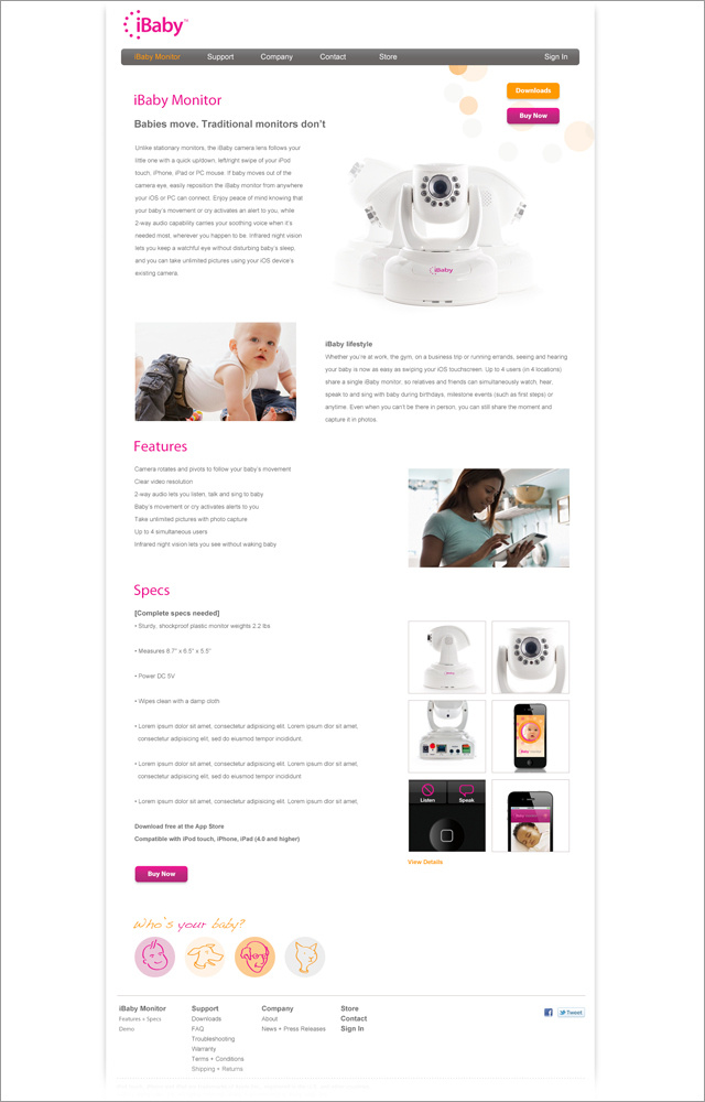 iBaby: website, interior page