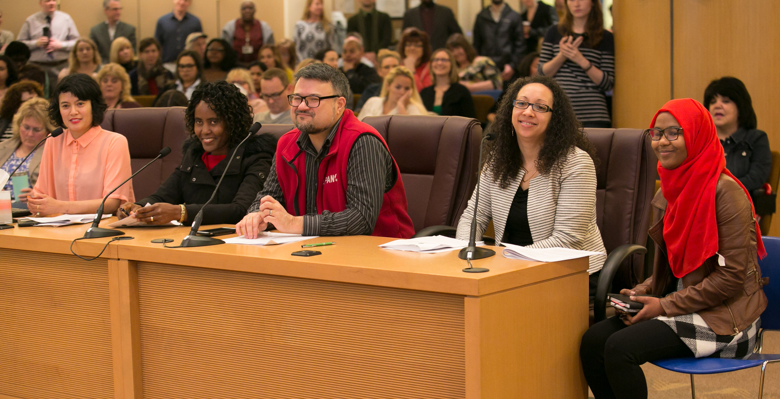 Rachael Banks (2nd from right) presenting on the work of the Community Health Improvement Plan along with members of Community Powered Change at an April 5th Multnomah County Board meeting. At the same meeting the Board of Commissioners made a proclamation on the CHIP process.