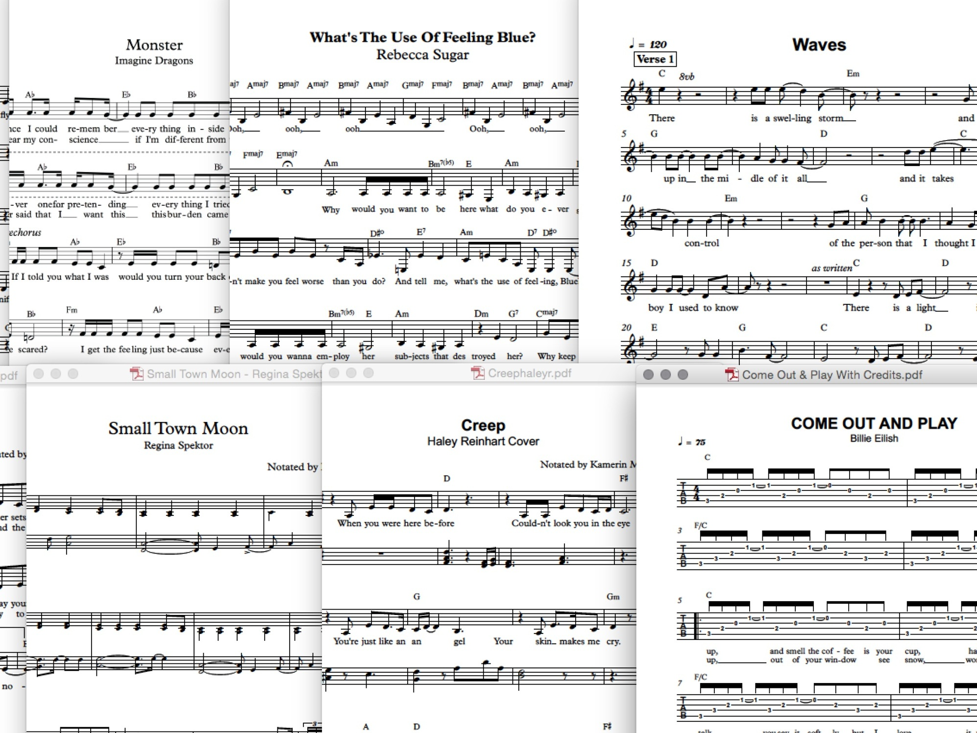 Notation practice: I frequently transcribe songs as a way to learn and teach them. Some of my scores are available   on my scores page.