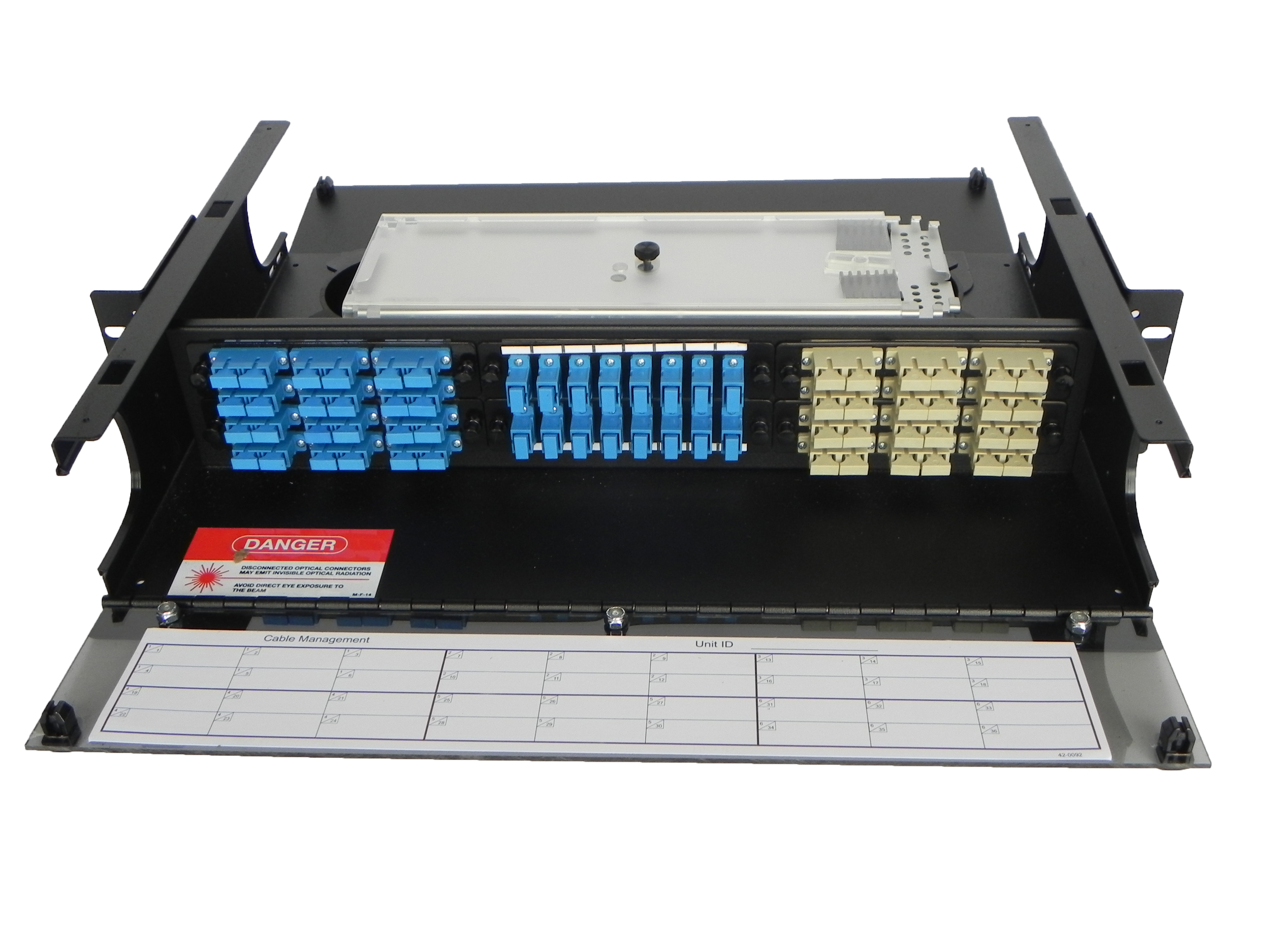 Front view of panel with splice tray