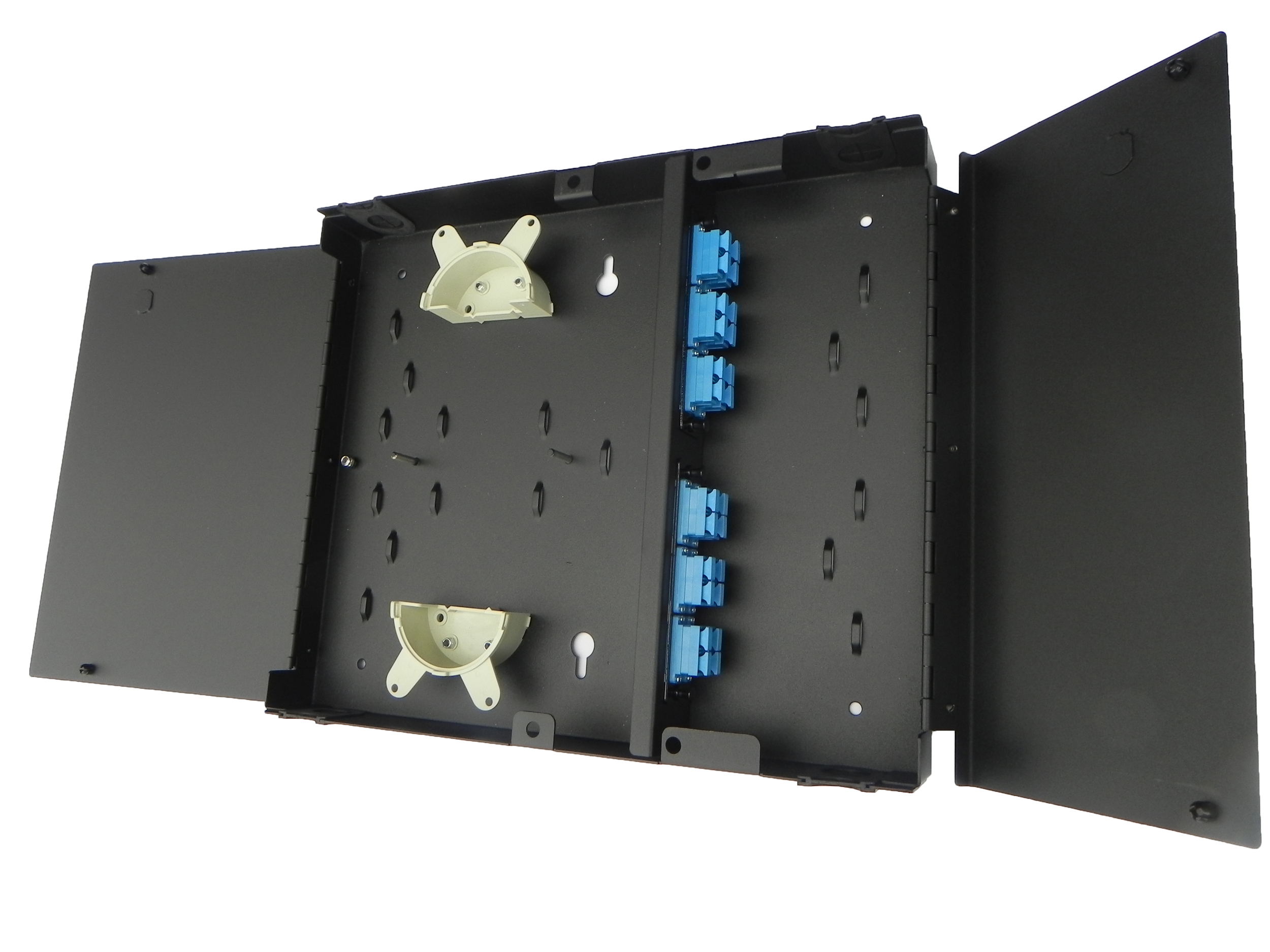 Inside view of panel with adapter plates