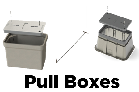 Polymer-Concrete and Fiber-Crete Pullboxes, Lids, and Lift Hook.