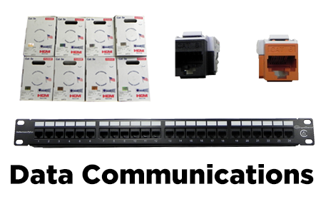 CAT 5E/6 Plenum +  Riser, CAT 5E/6 Jacks, CAT 5E/6 Patch Panels, RJ 45 Connectors, CAT 5E/CAT 6 Shielded Connectors, Hinged Wallmount Brackets, Tie Wraps, Velcro, Plenum Tie Wraps + Velcro, Racks, Cabinets, Horizontal/Vertical Cable management, Mud Rings, Surface Mounts Boxes.