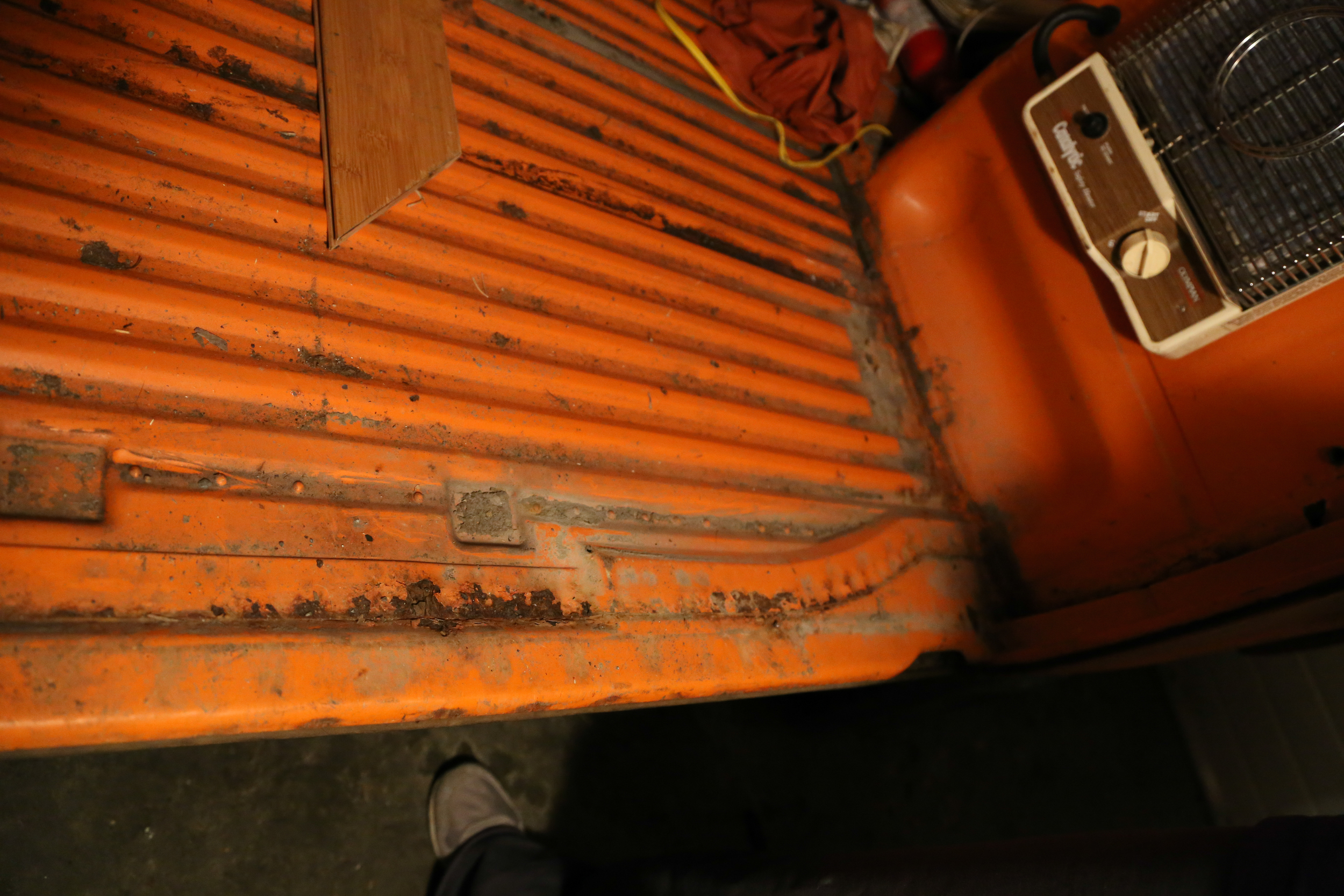We found some rust that has to be fixed before we can instal soundproofing and all of the furniture.