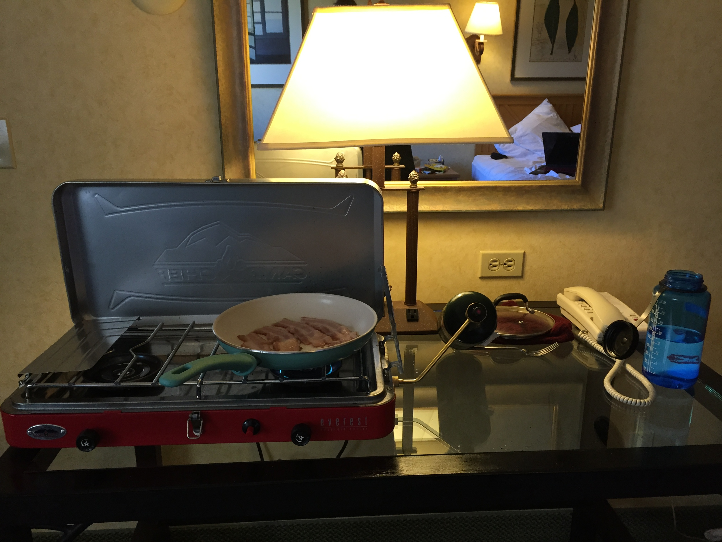 Budget life in a hotel sometimes looks like this.