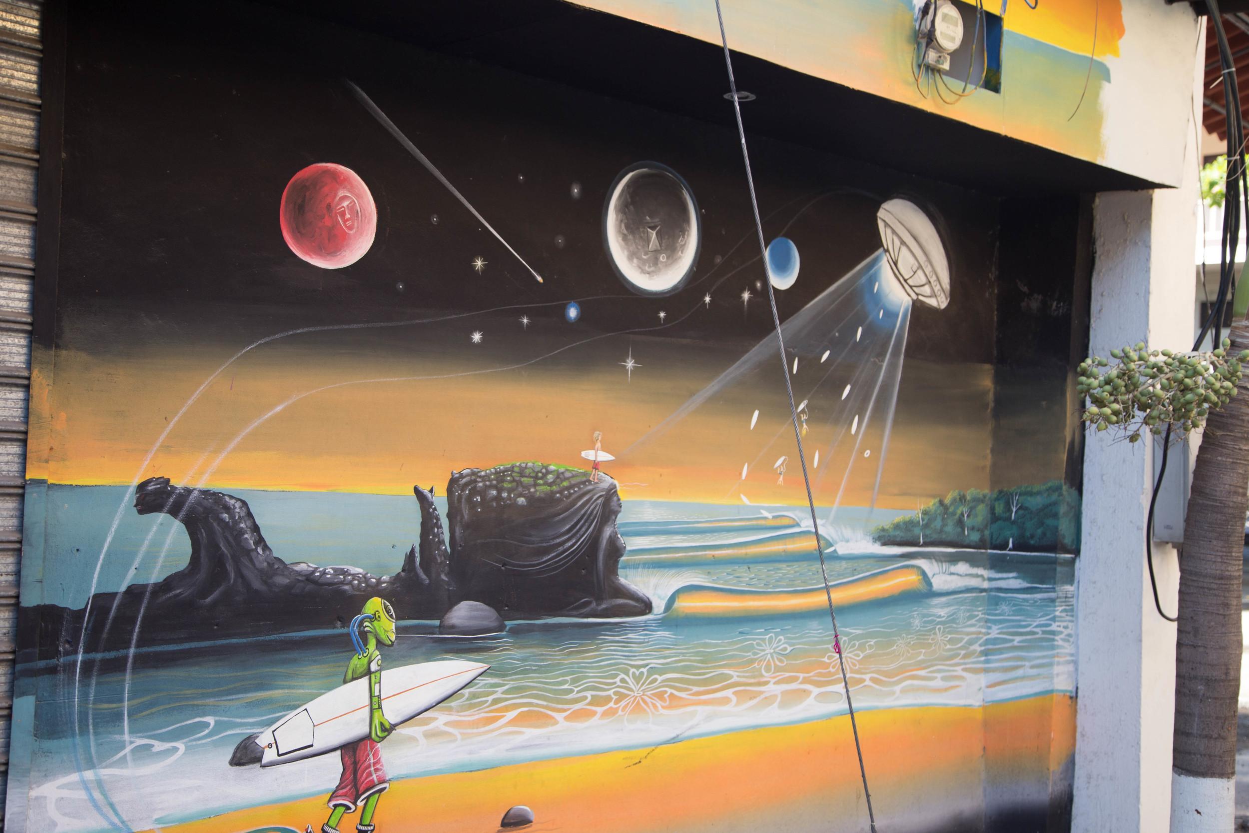 Local Mural. Pretty self explanatory, aliens love to surf.