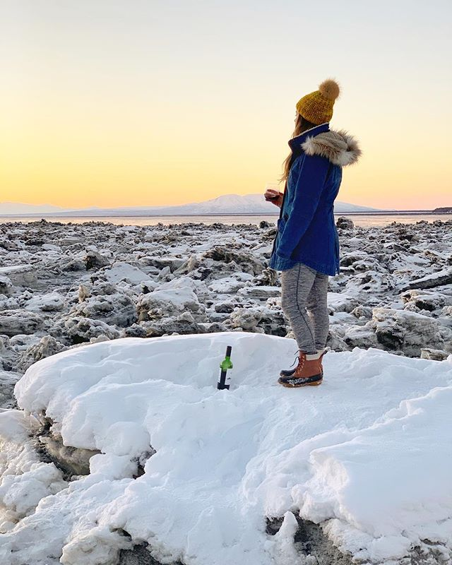 When going to the beach to catch the sunset means drinking wine on a grounded iceberg you might just be an Alaskan. - We're heading to warmer beaches soon but honestly this one ain't so bad.