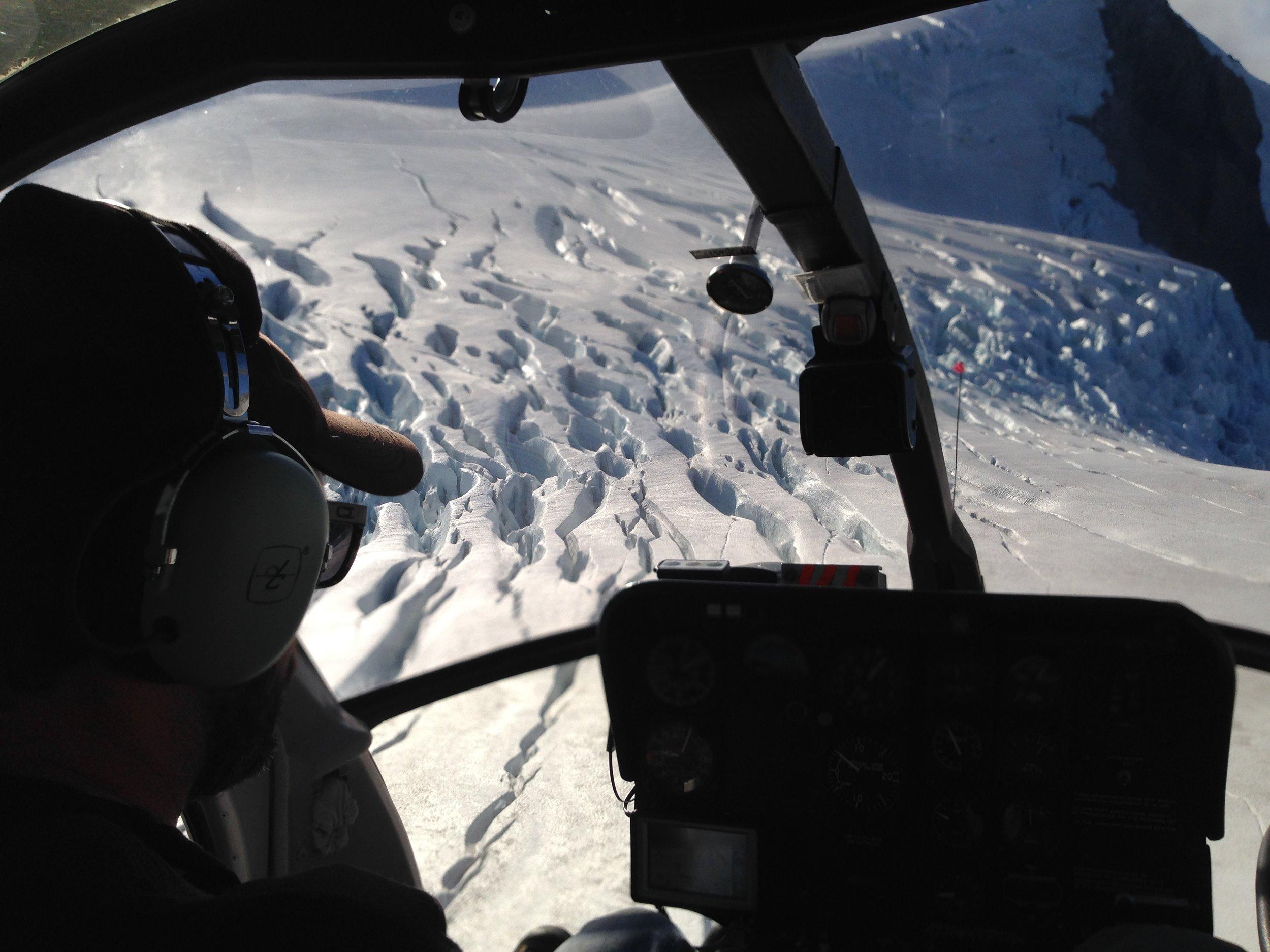 Heli fishing glacier views