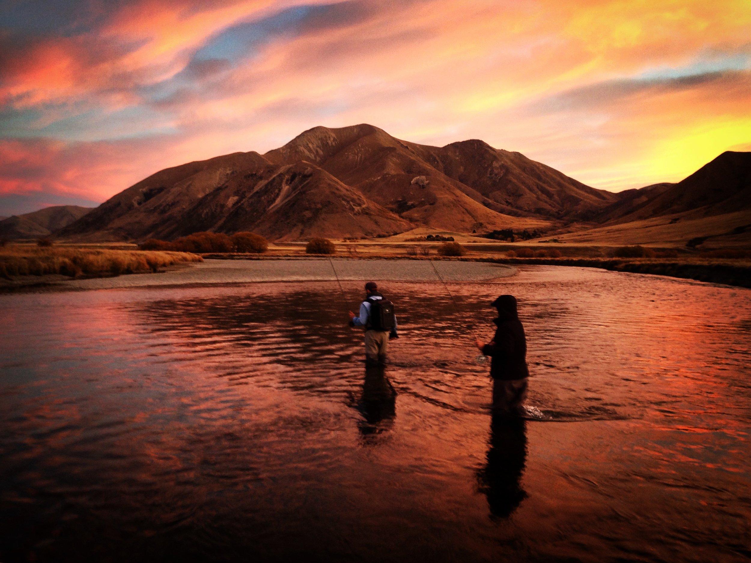Sunset New Zealand fly fishing