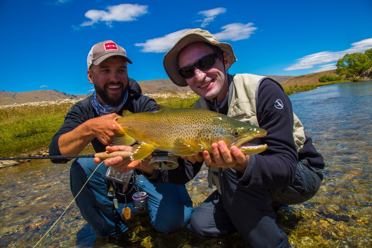 Big NEw Zealand brown trout with the man from France!