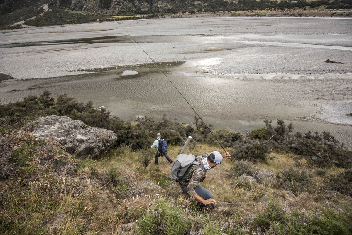 Jeff Forsee and Josh Gallivan fly fishing in Backcountry New Zealand photo Hollis Bennett