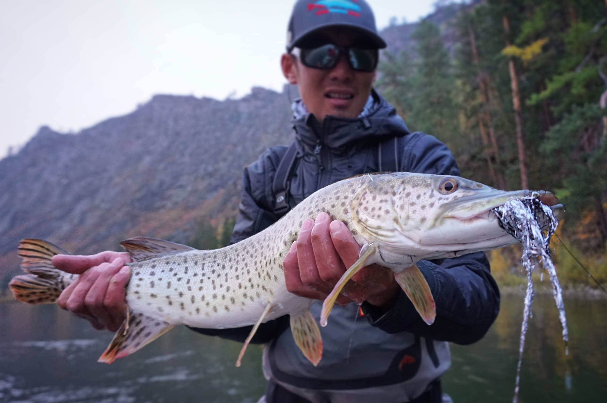 Mongolian fly fishing guide Zolboo with a big amur pike