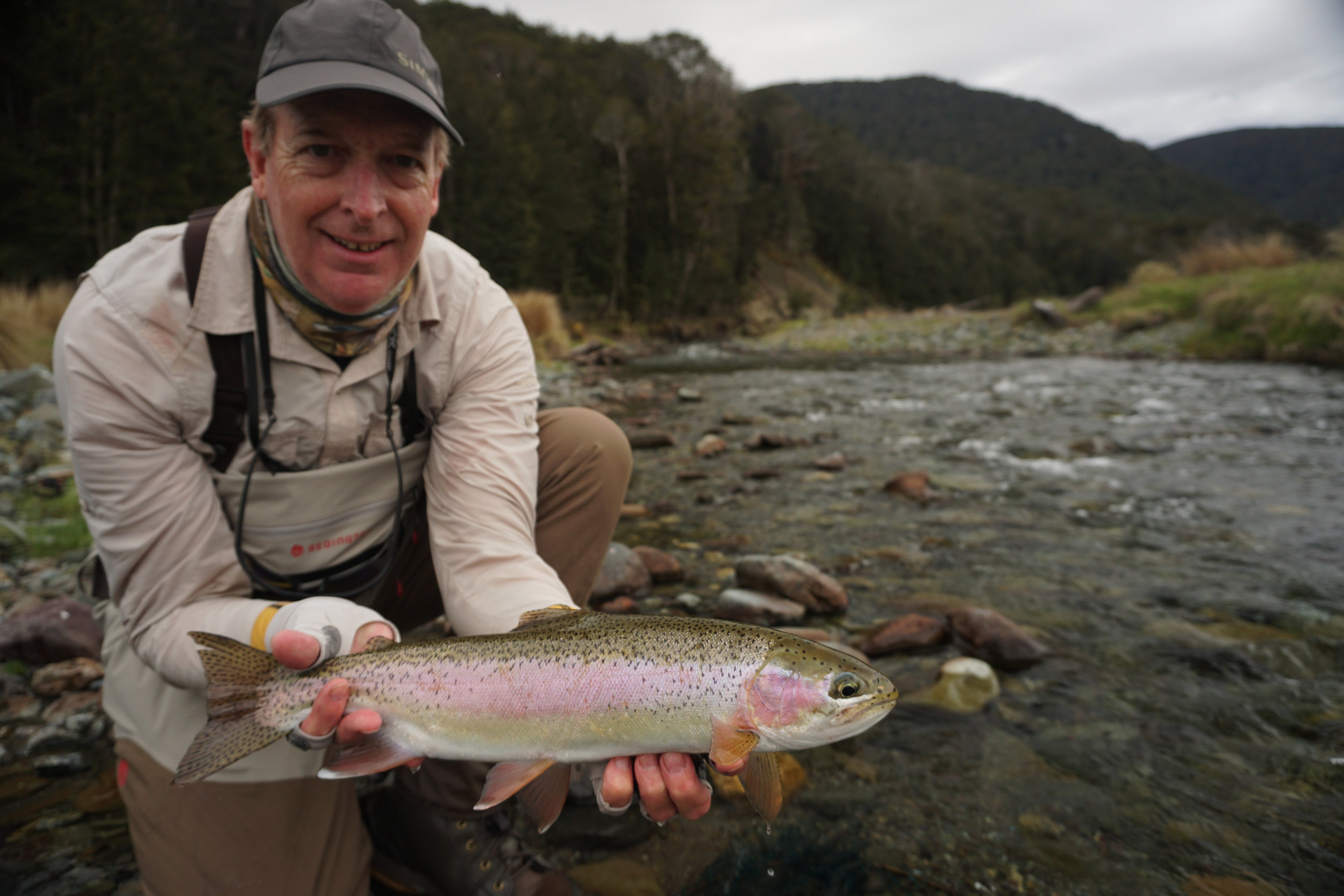 Guided fly fishing for rainbow trout in New Zealand
