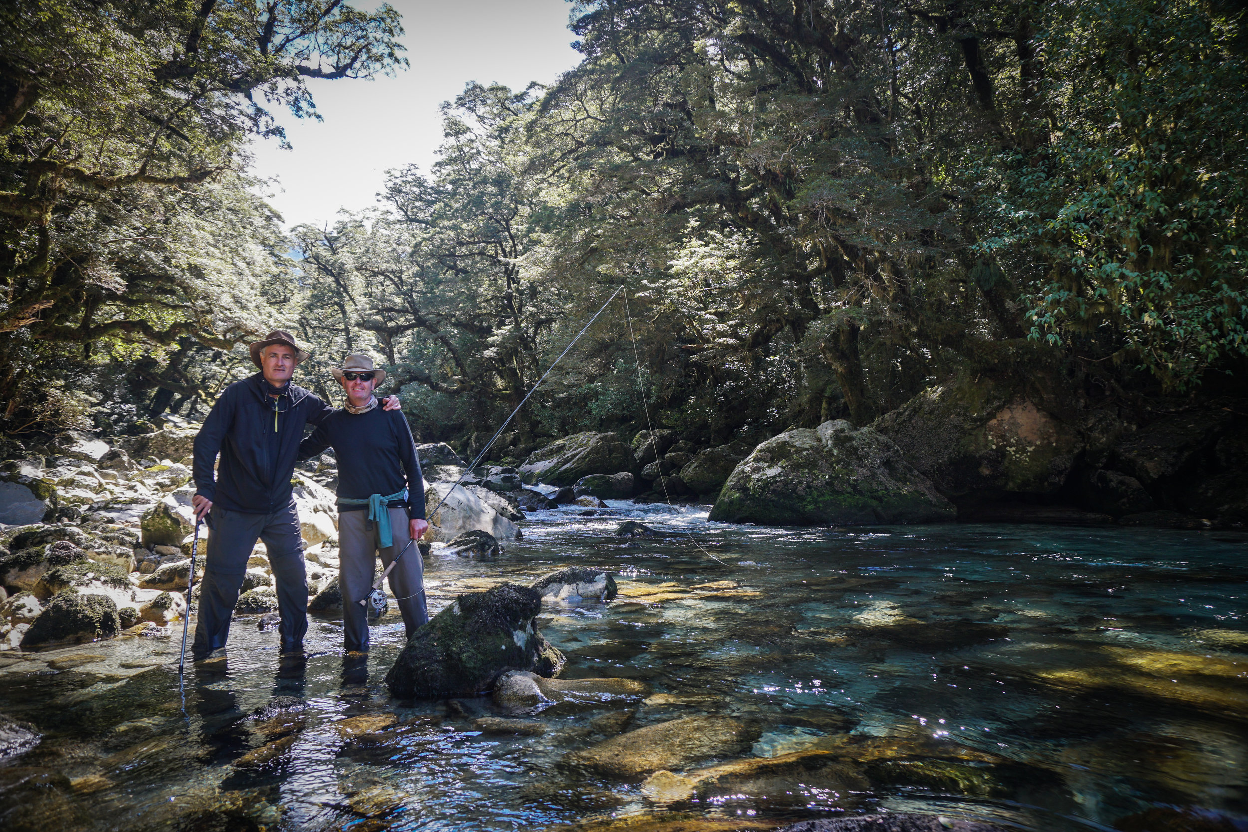 Best friends go fly fishing in New Zealand