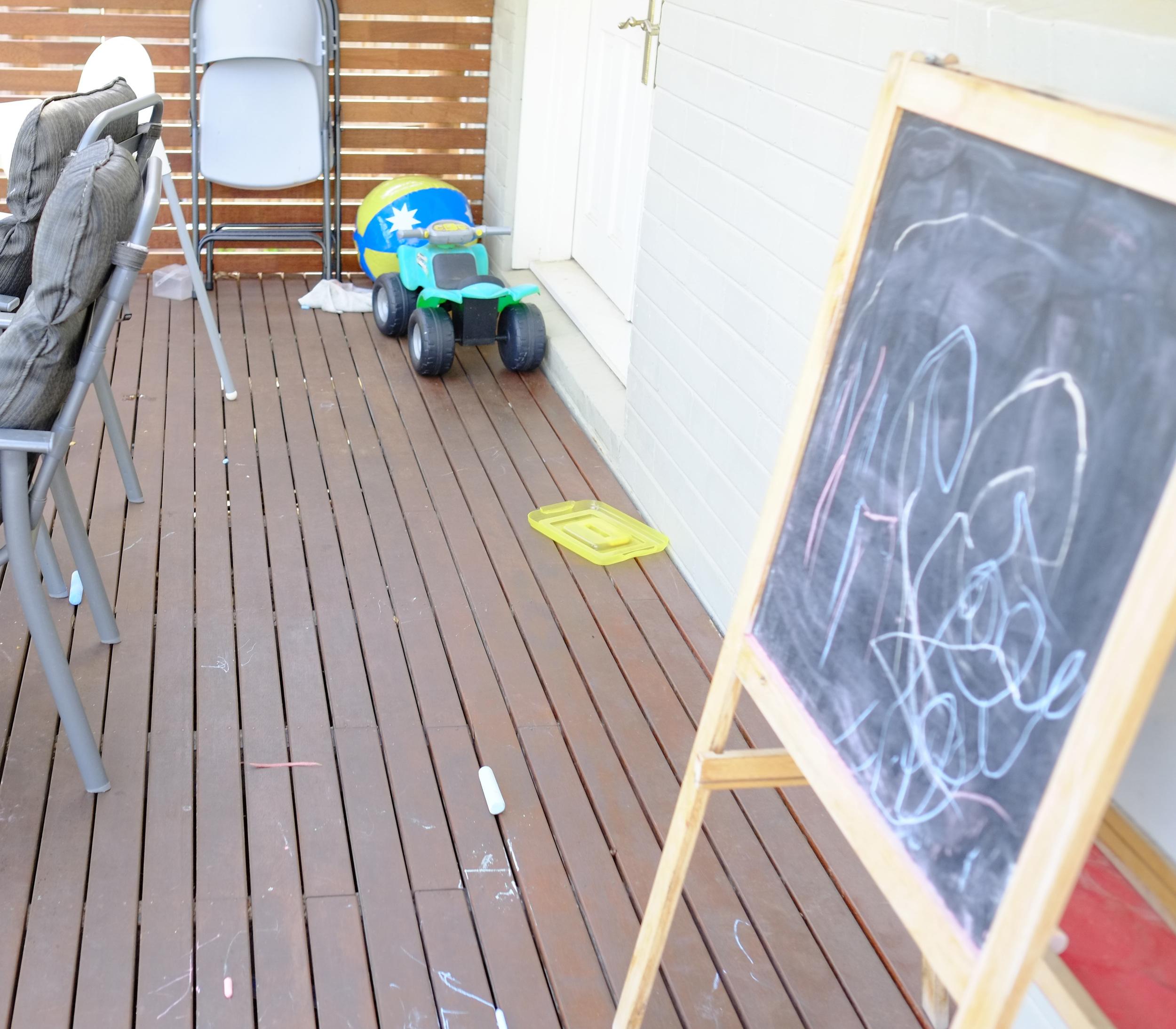 blackboard on deck