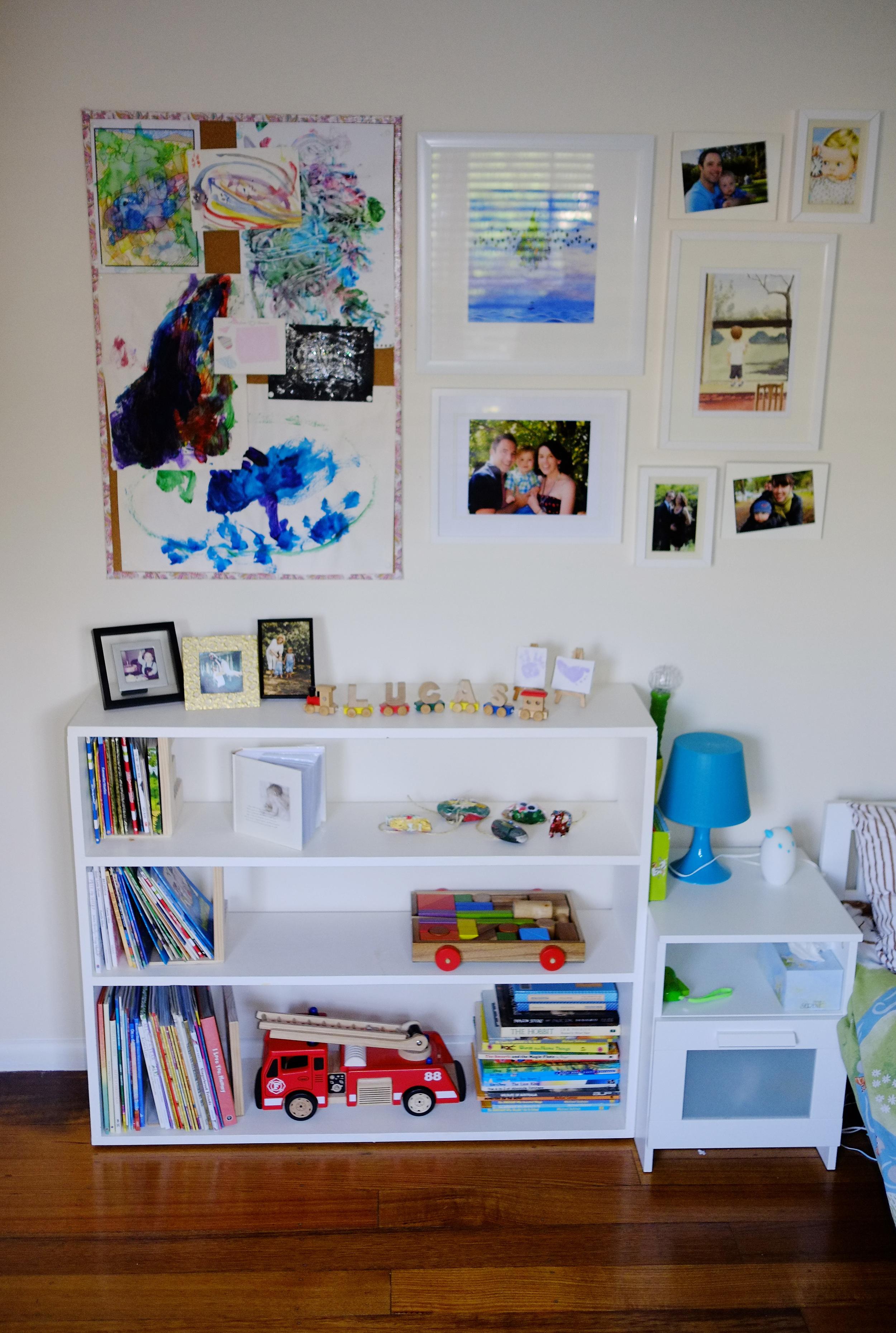 bookshelves and art