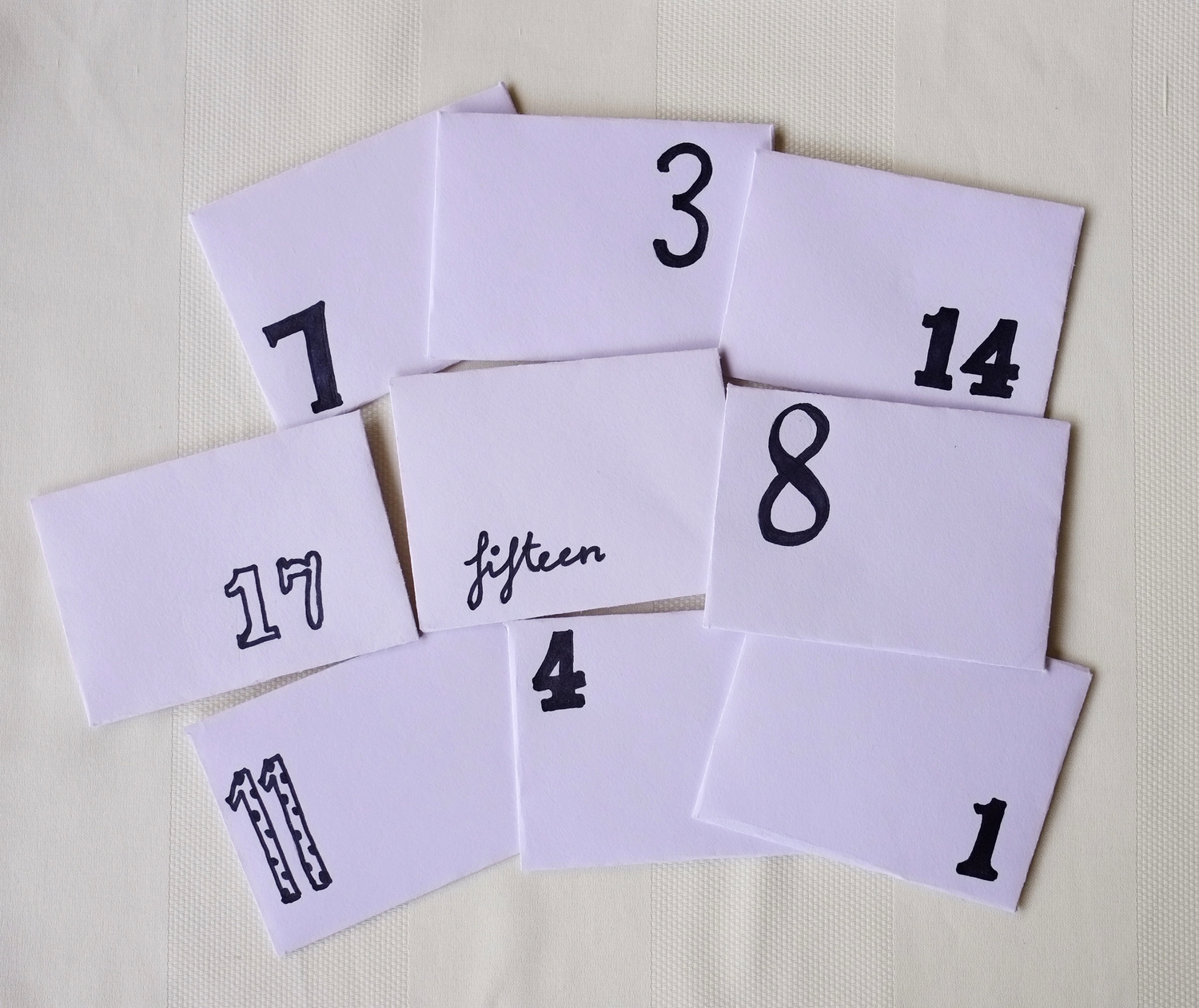envelopes with numbers