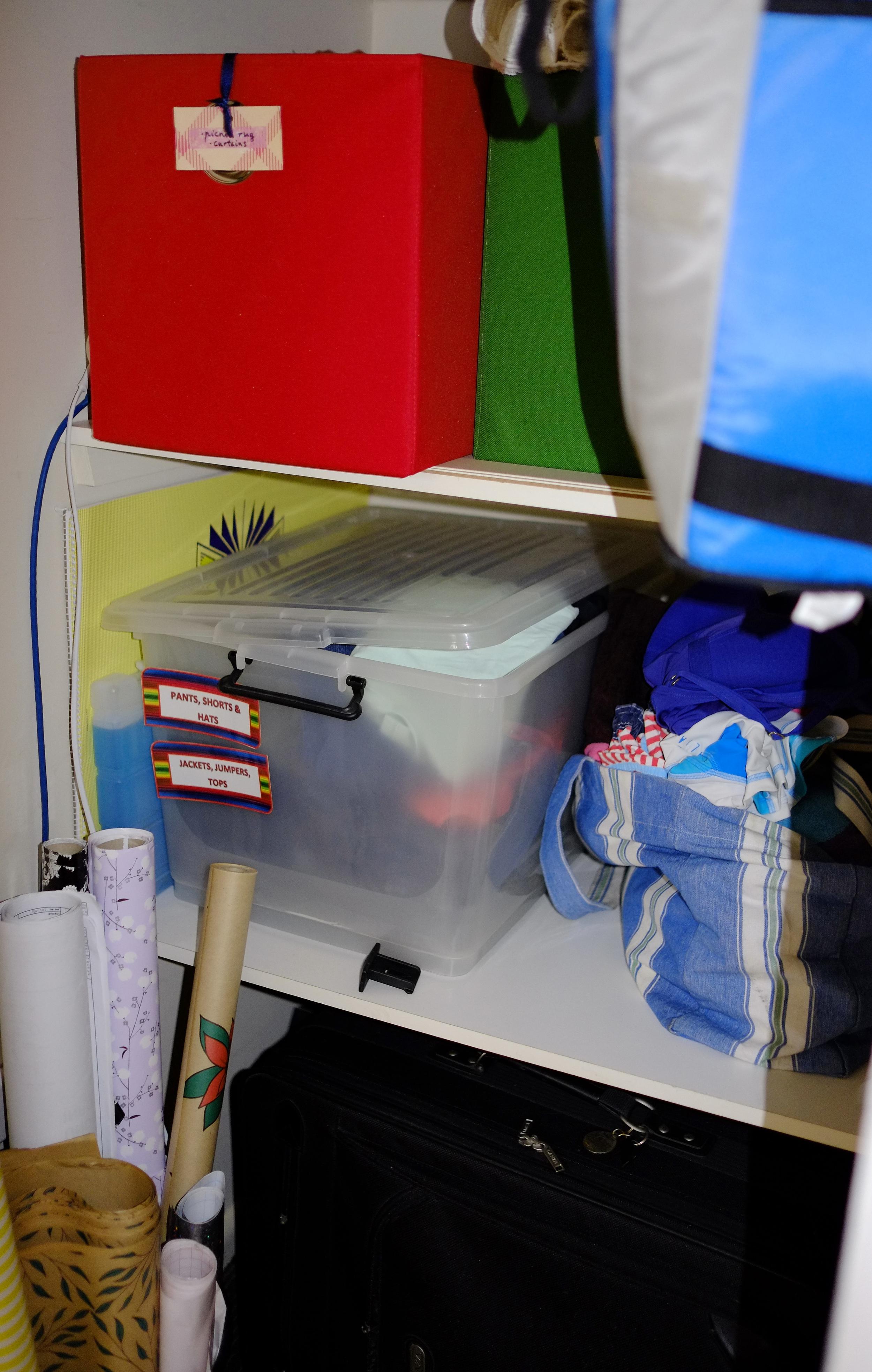 disorganised cupboard