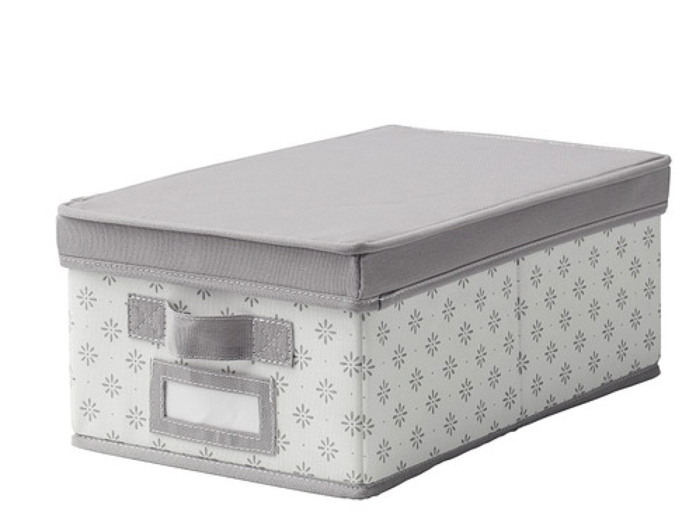 Ikea Svira storage box  - storing bedding: spare pillowcases, flat & fitted sheets, doona cover; and clothes to donate