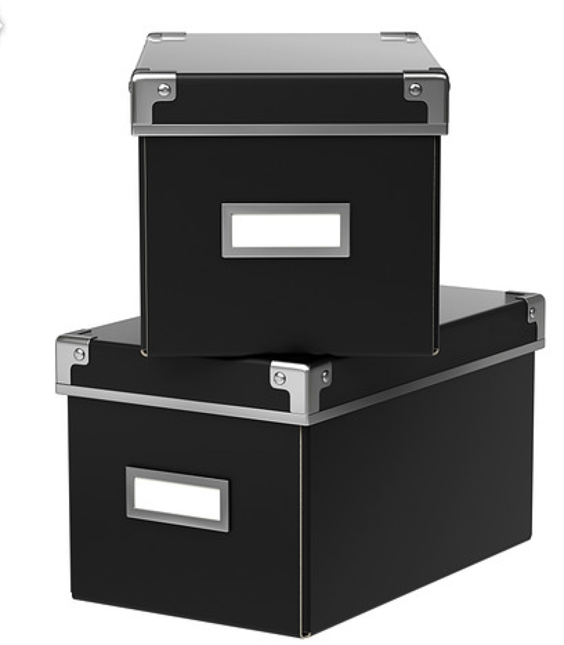 Ikea Storage Box  - one storing small boxes & containers; two larger ones as memory boxes for my husband & I