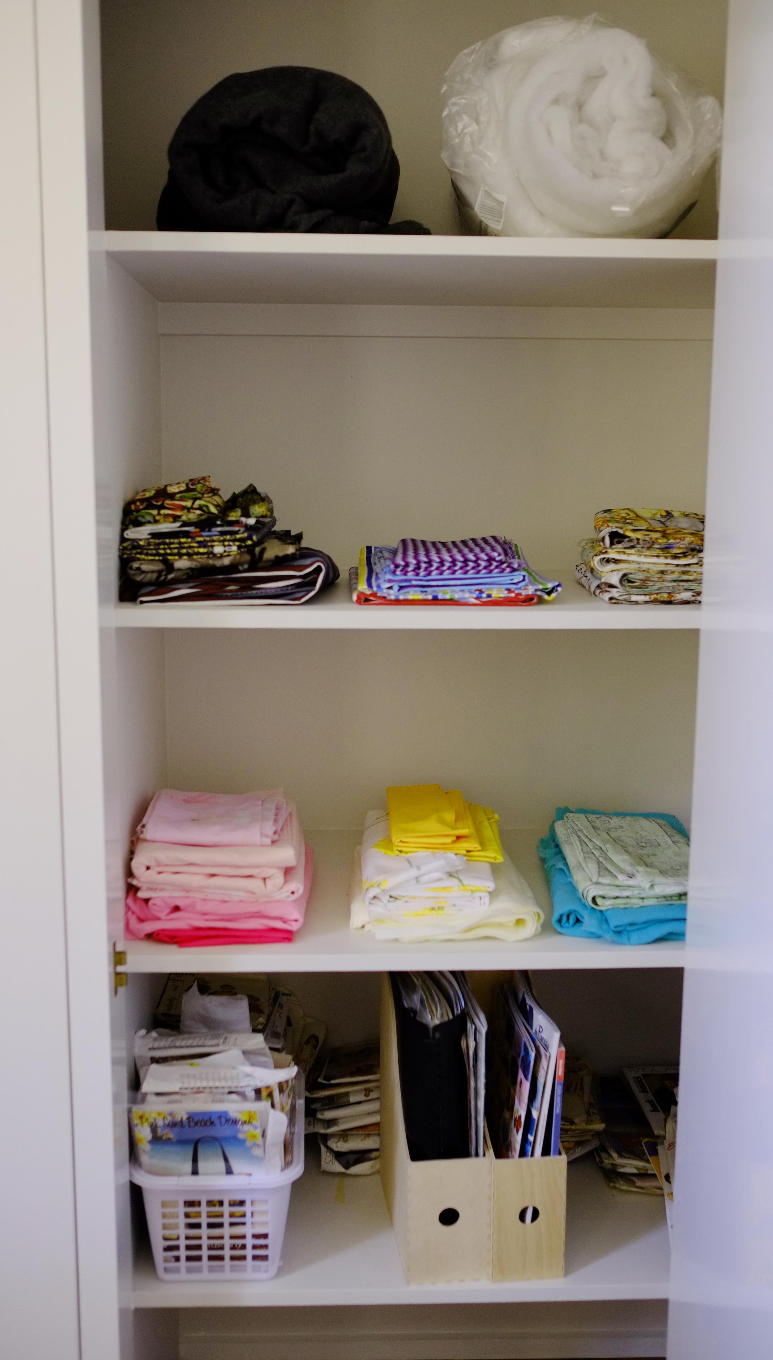 organised fabric cupboard