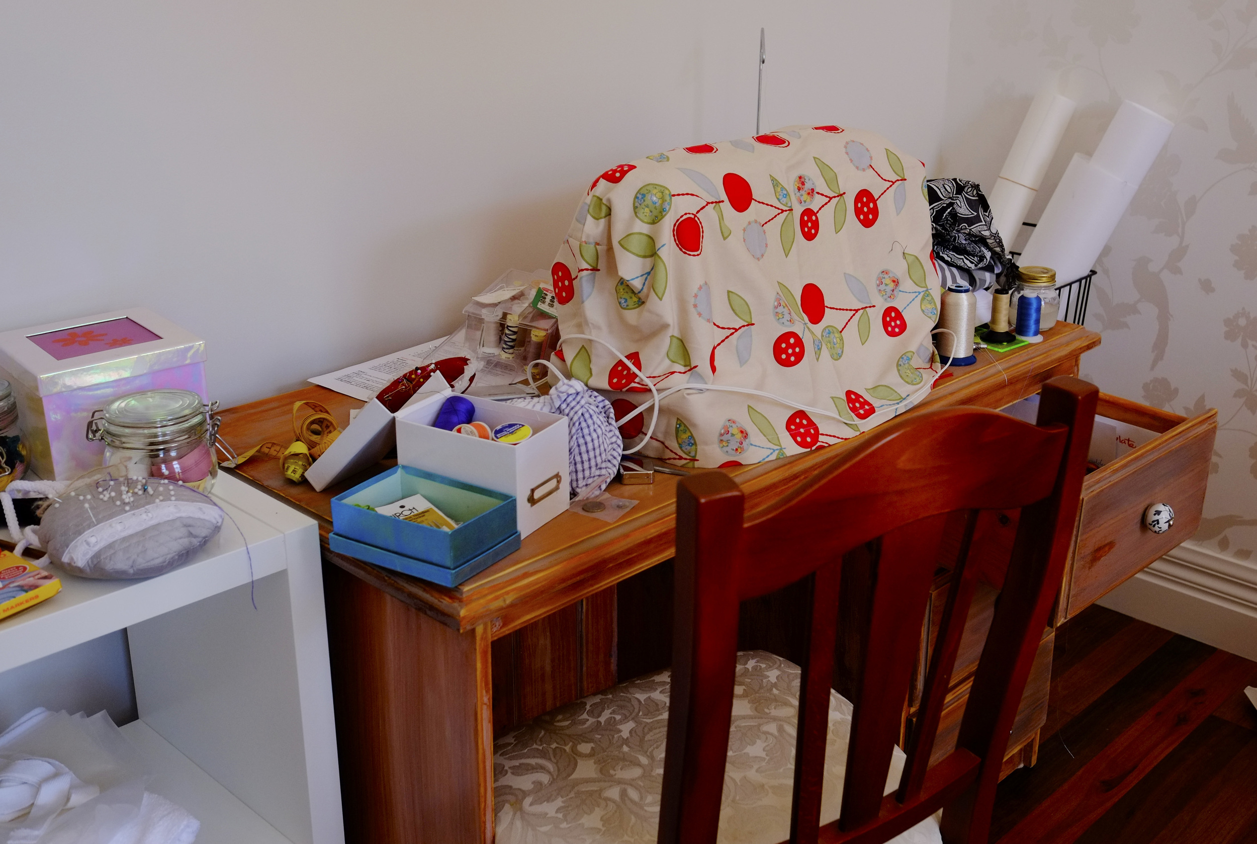 messy sewing station