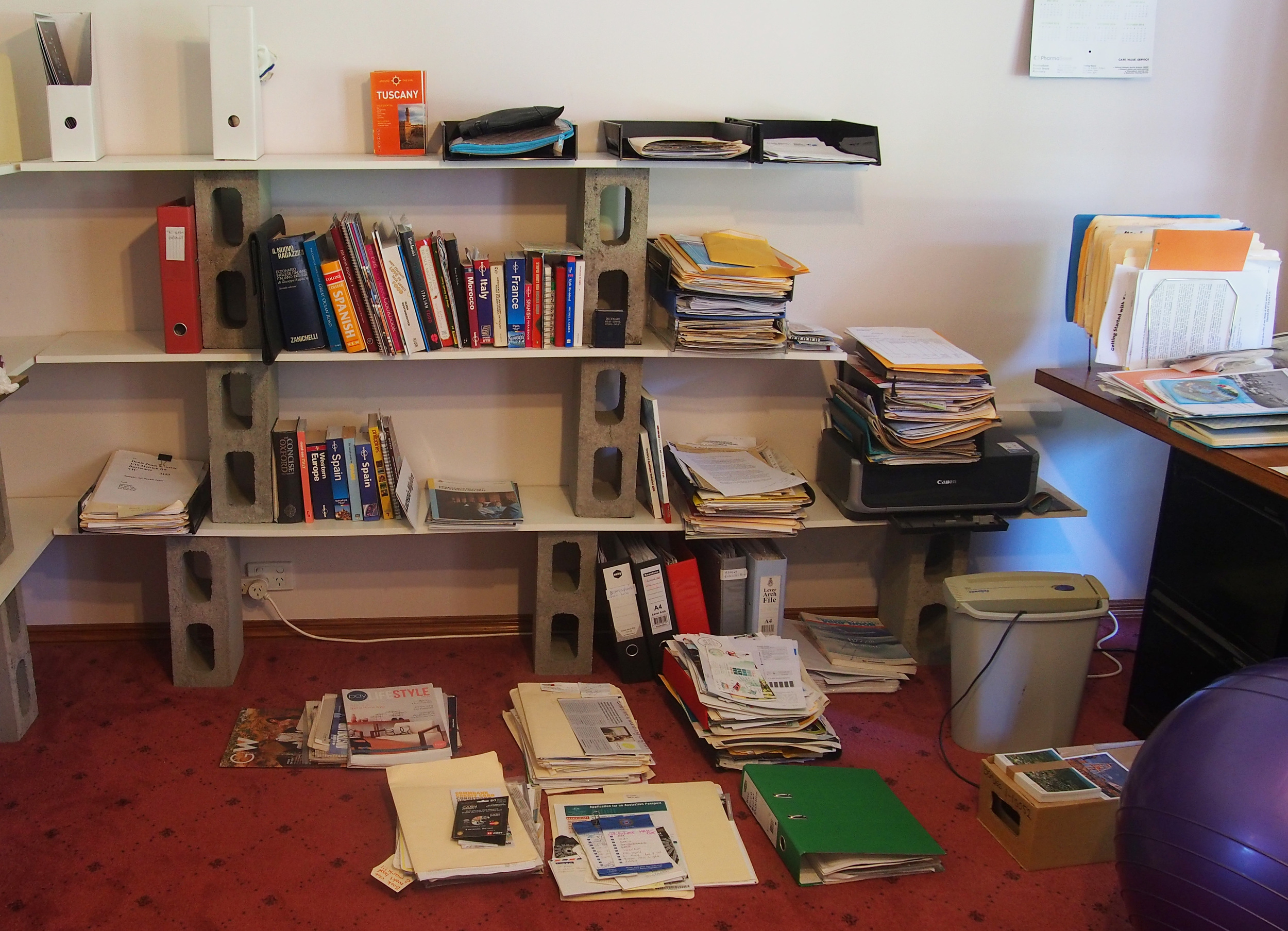 sorting and de-cluttering home office
