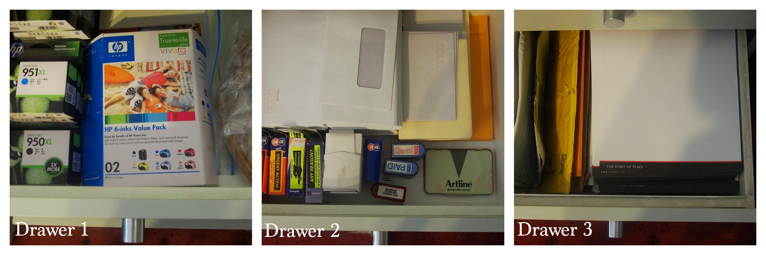 stationery drawers organised