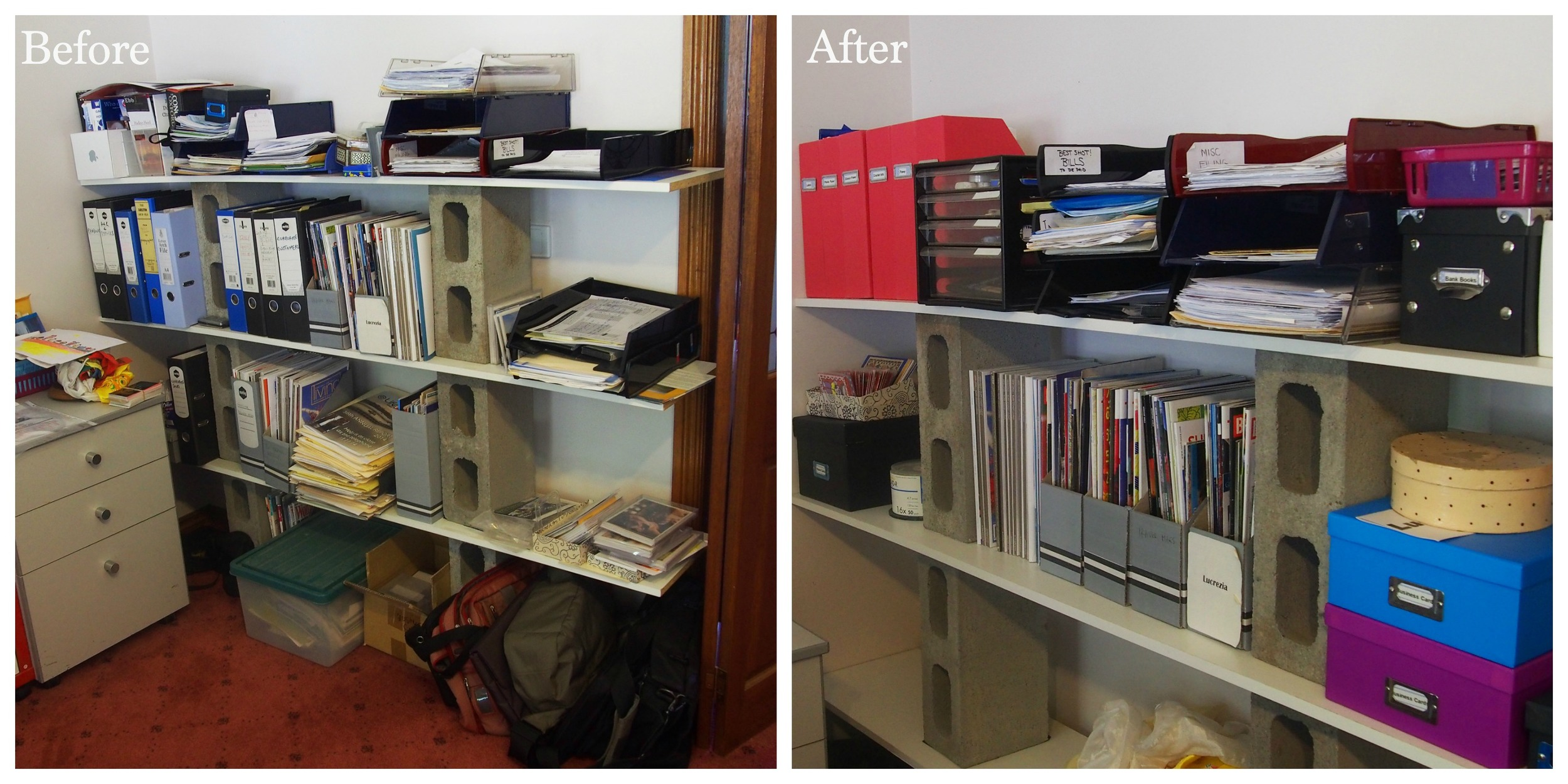 before and after stationery supplies organisation