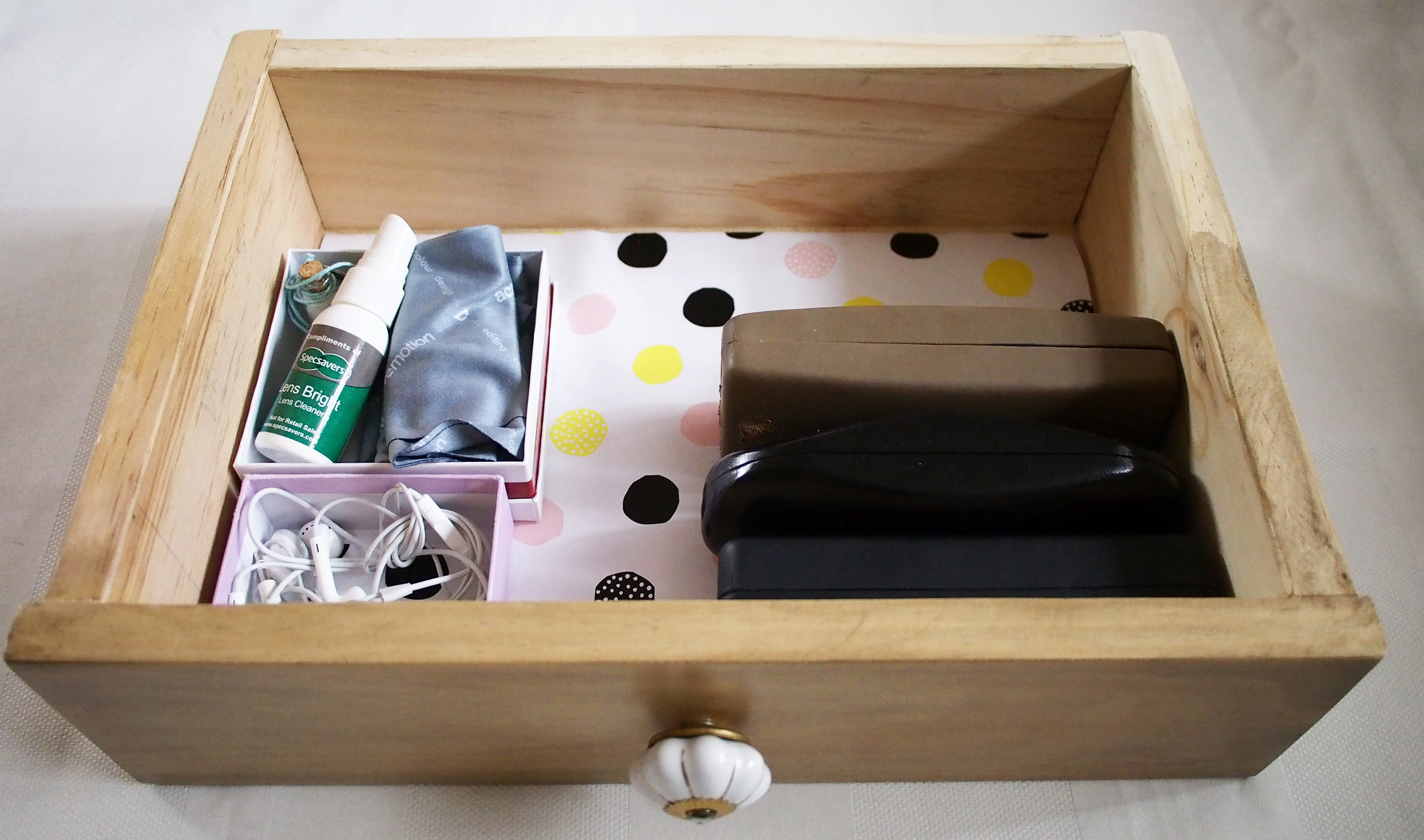decorative drawer with glasses
