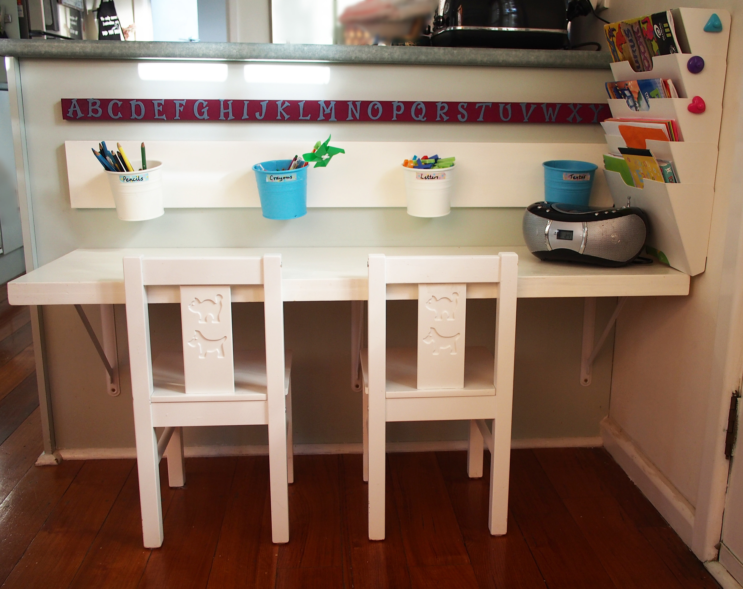 kids craft and writing table