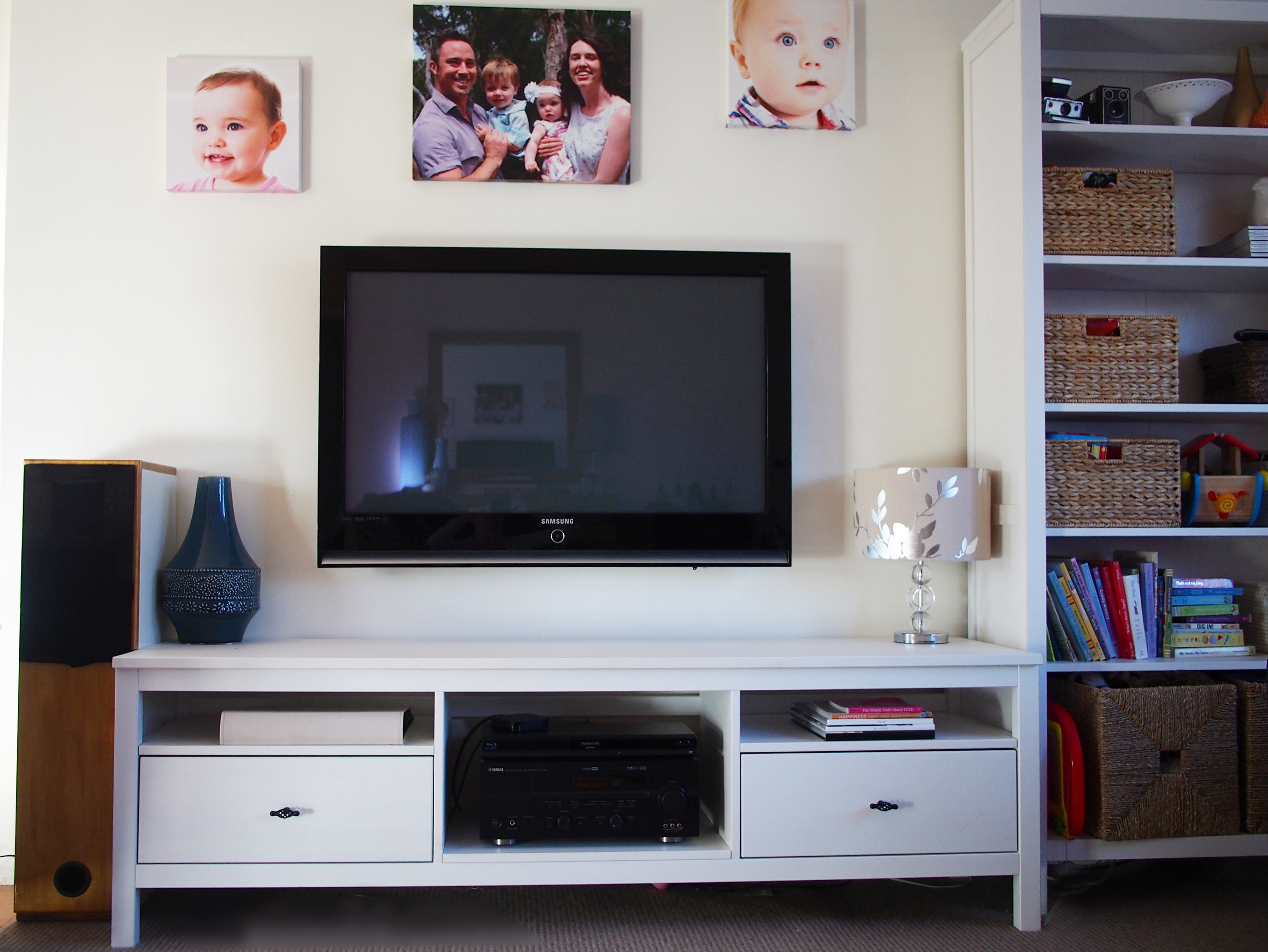 TV unit storage for puzzles and games