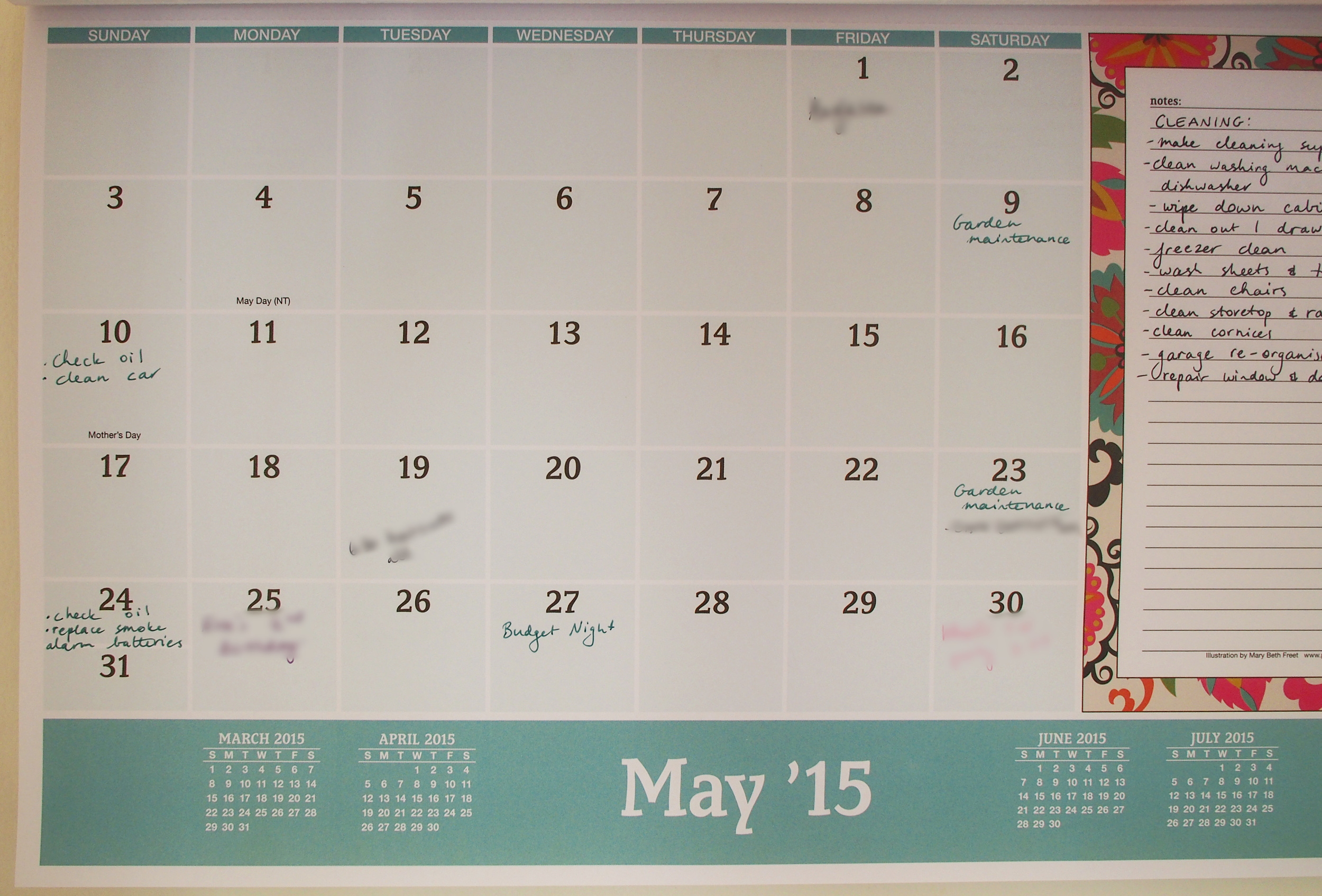 using a calendar to track household cleaning