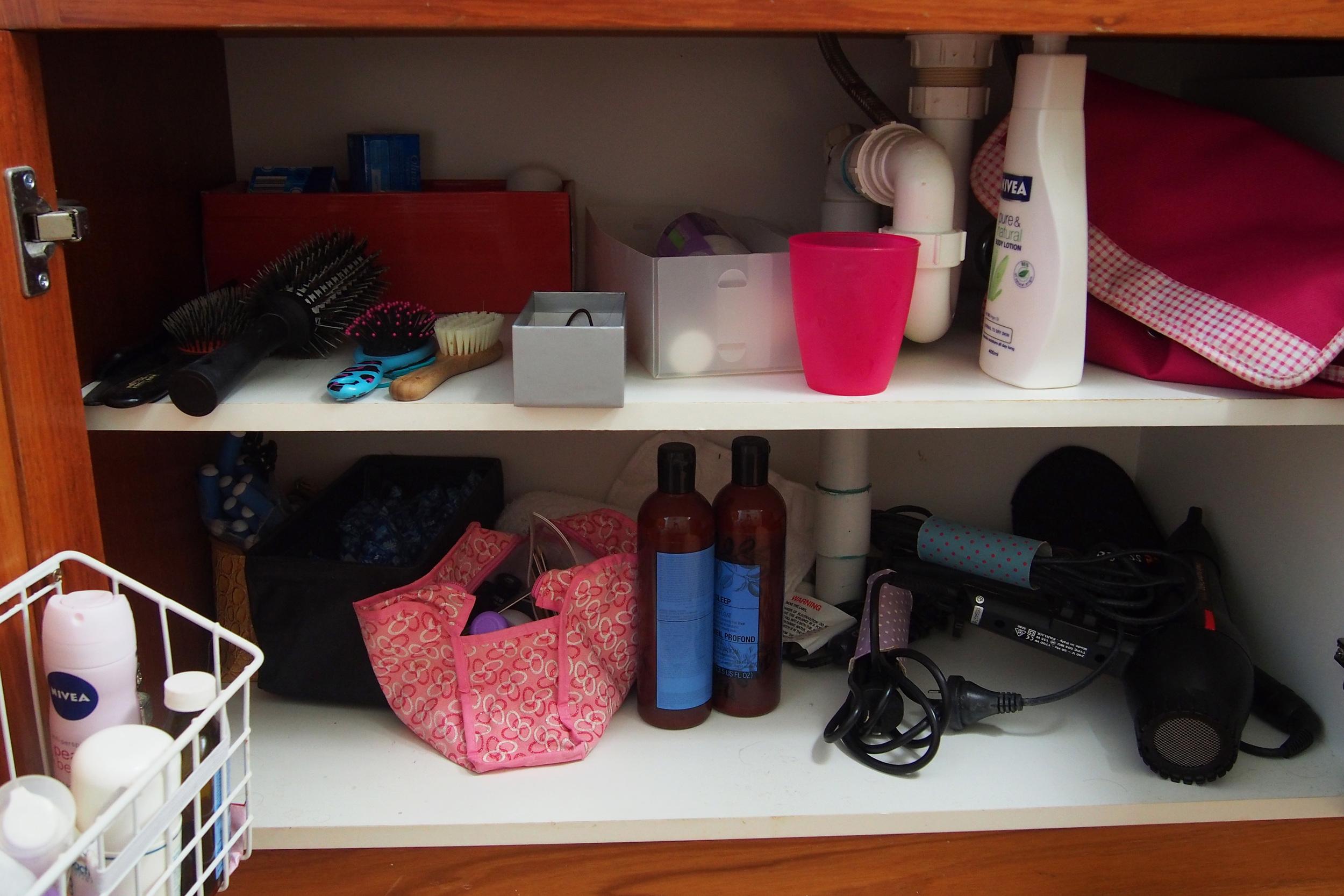 disorganised bathroom vanity