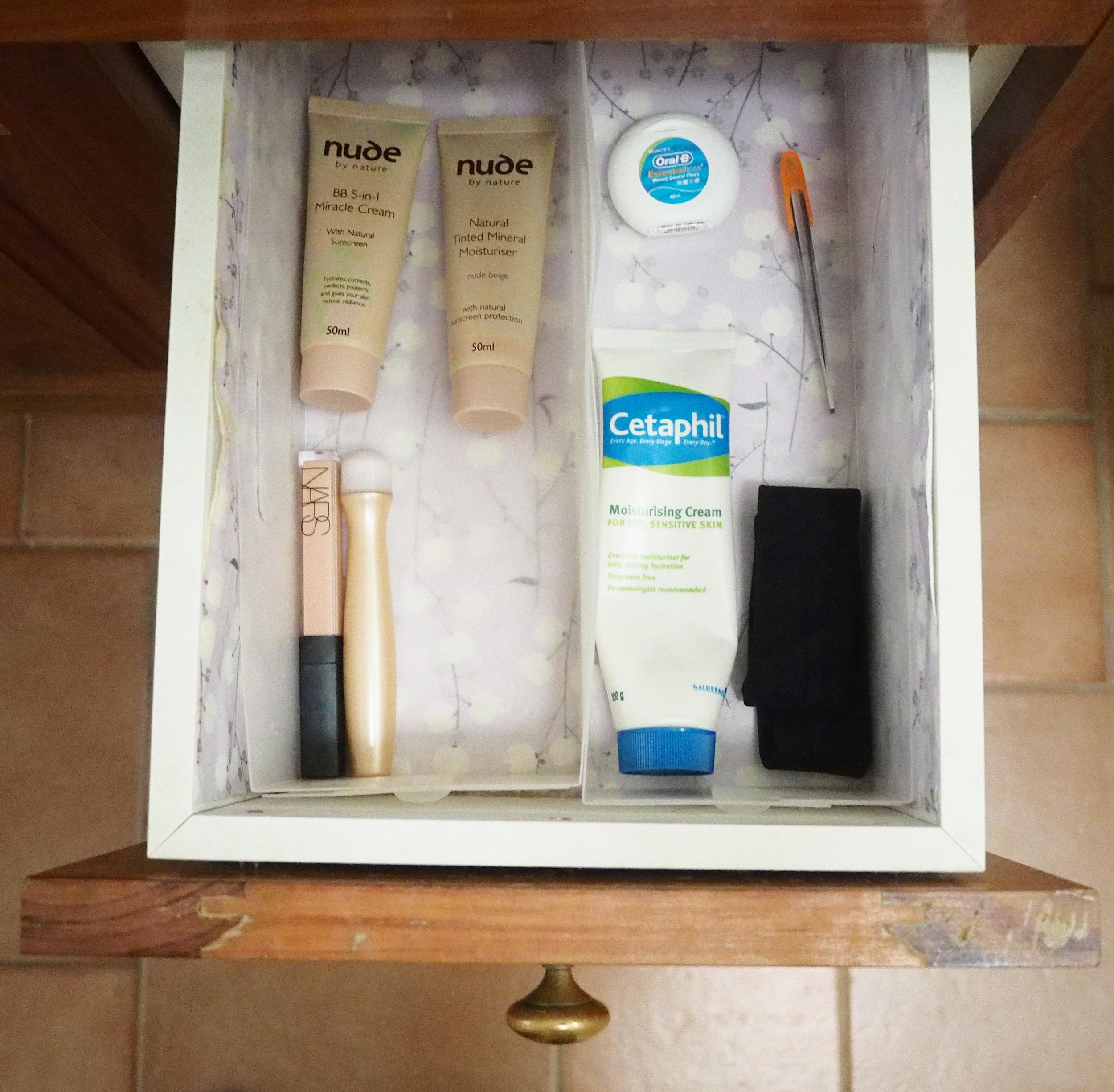 organised bathroom vanity supplies