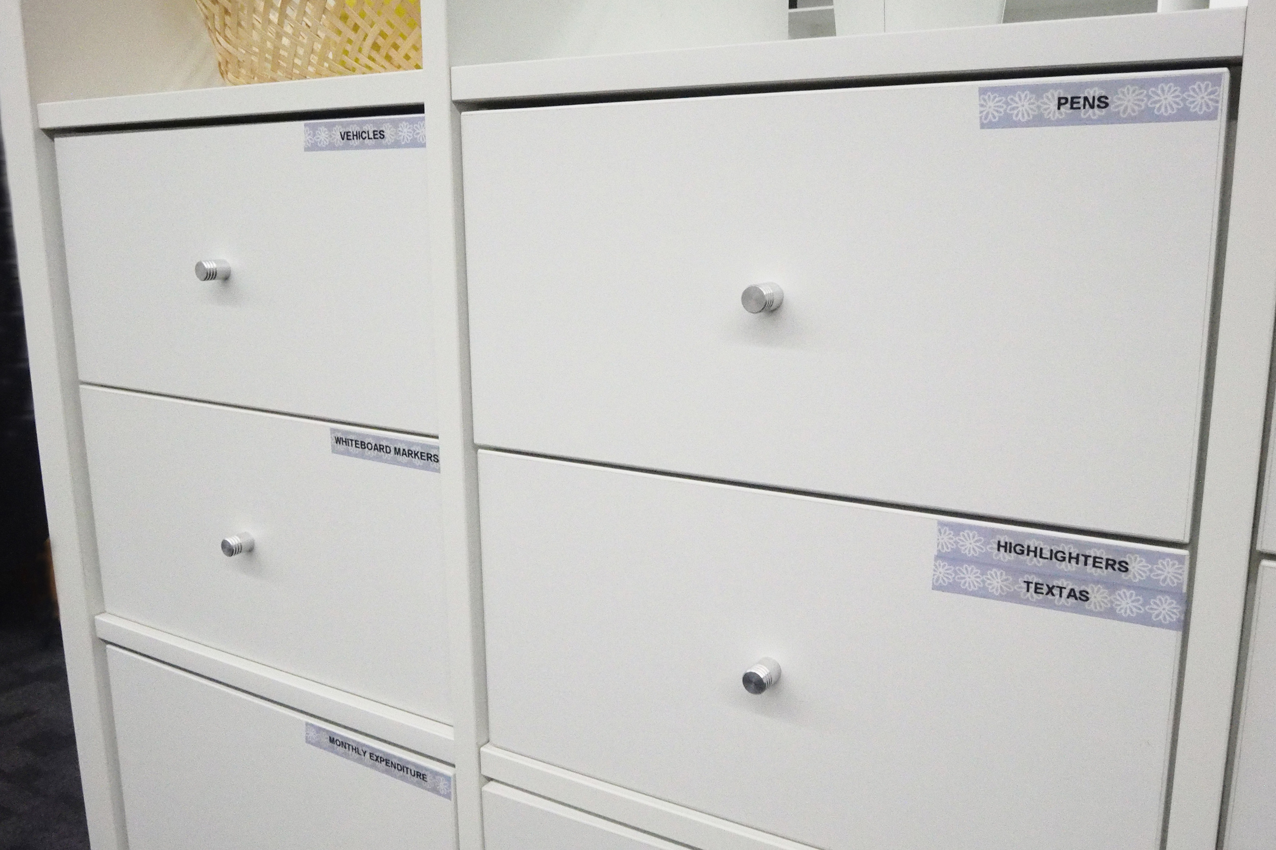 organised labelled drawers