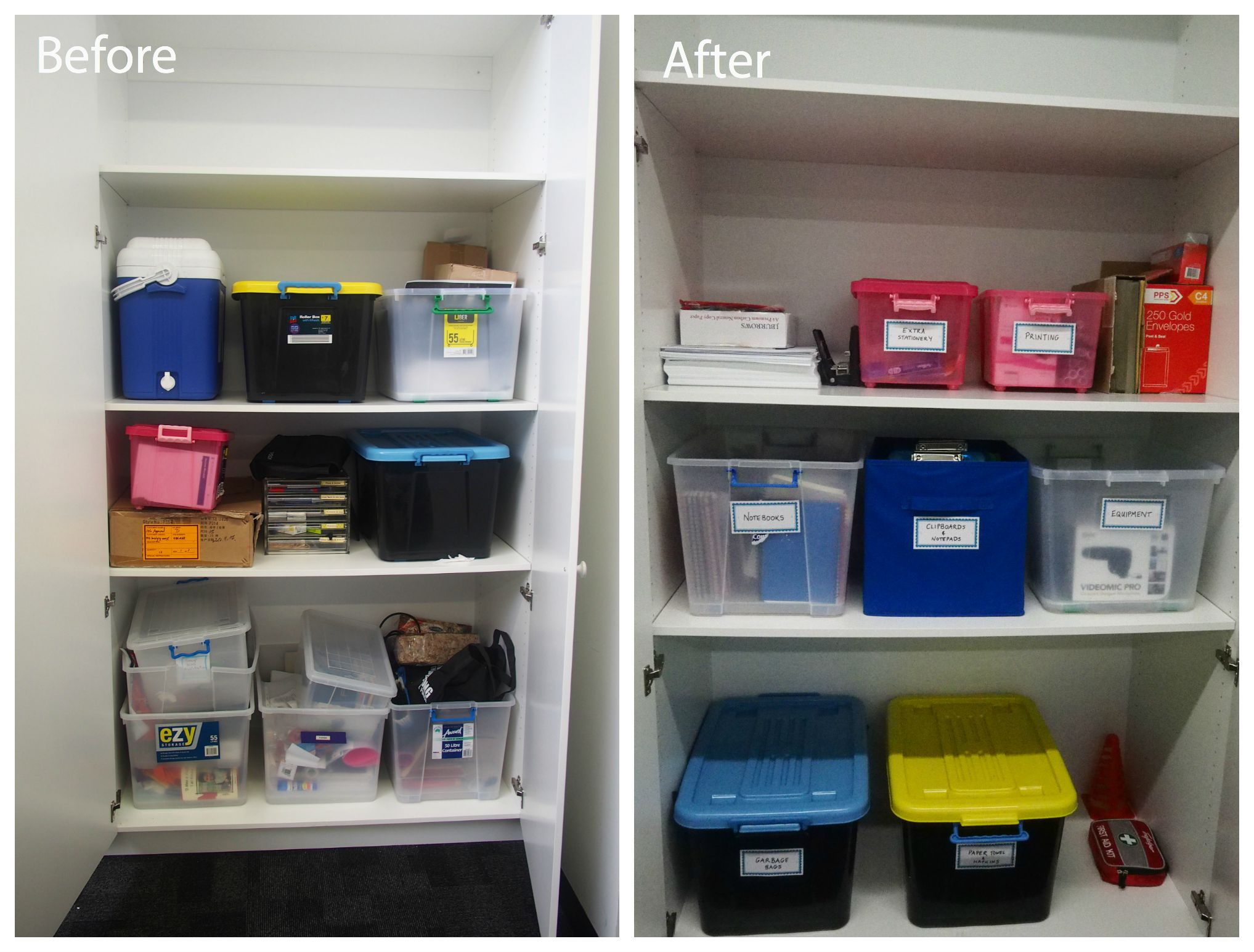before and after cupboard organisation