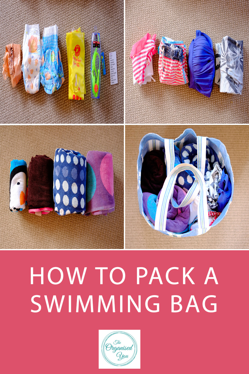 How to pack a swimming bag - having all your swimming items organised and ready to go in your swimming bag is the best way to ensure you get out the door quickly and hassle-free. Click through to read the full post on how I pack in our swimming bag to make sure we don't leave any essential items behind