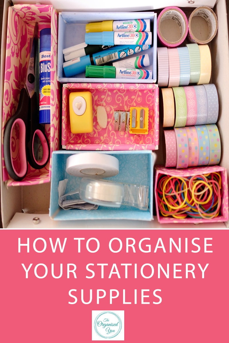 How to organise your stationer supplies - if you have an overflowing junk drawer, or can never find the stationery that you need quickly and easily, then this post is perfect for you! Click through to read about how I use inexpensive storage solutions to corral my stationery supplies and keep them in an easy-to-access spot near the kitchen