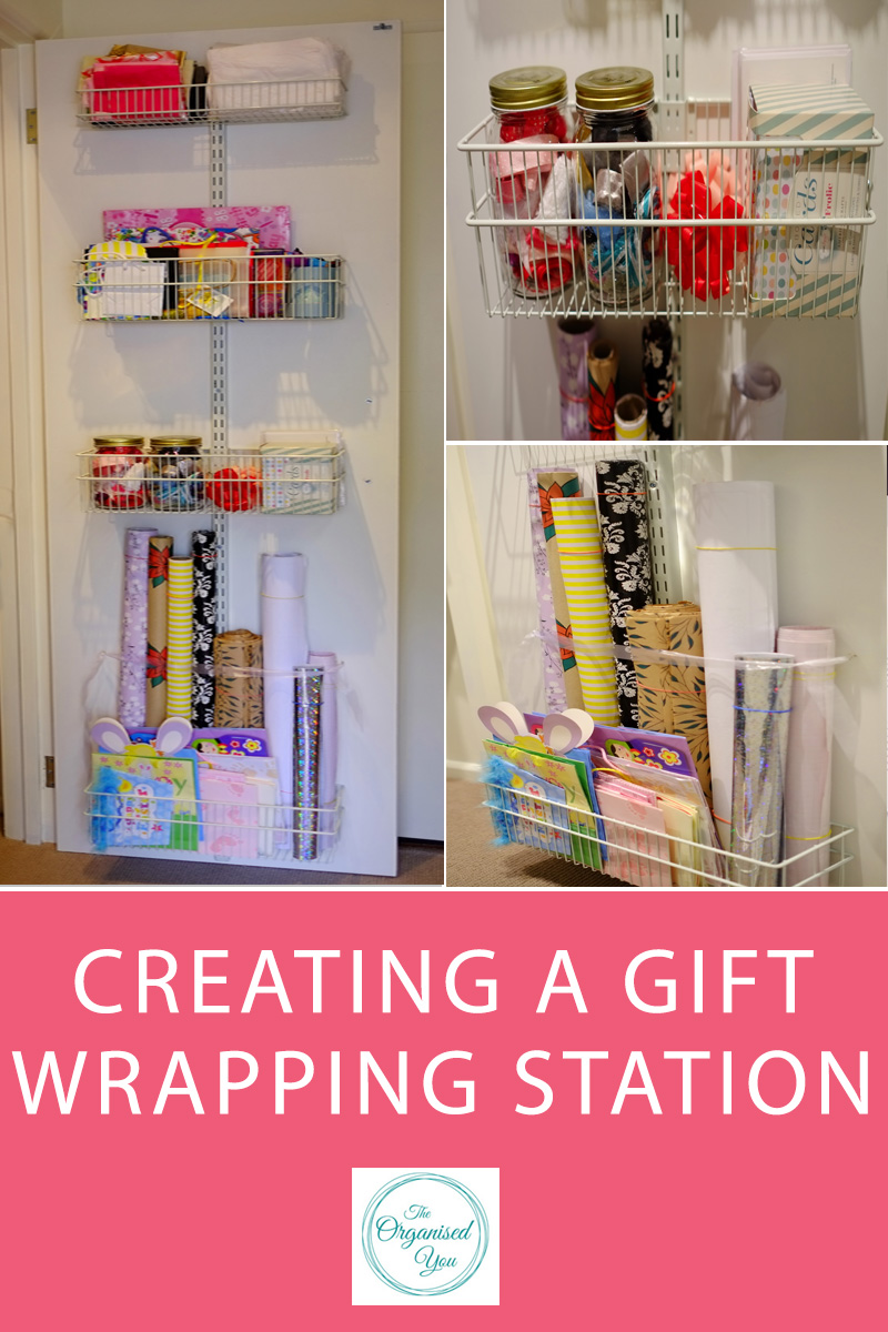 Creating a gift wrapping station - using the back of a cupboard door is a fantastic way to utilise storage space to add a convenient spot to store all your gift wrapping supplies in one organised and handy location. Click through to read the full post on how I set up and organised our gift wrapping station in a hallway cupboard