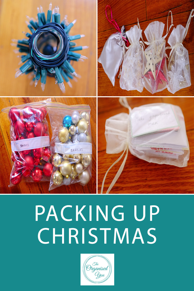 Packing up Christmas - storing and packing up your Christmas decorations into an organised system will save you so much less stress next Christmas. It will also ensure nothing gets broken or damaged, lights won't be tangled, and you know how to easily find each type of decoration for your tree and home. Click through to read the step-by-step guide to how I store and organise our Christmas decorations