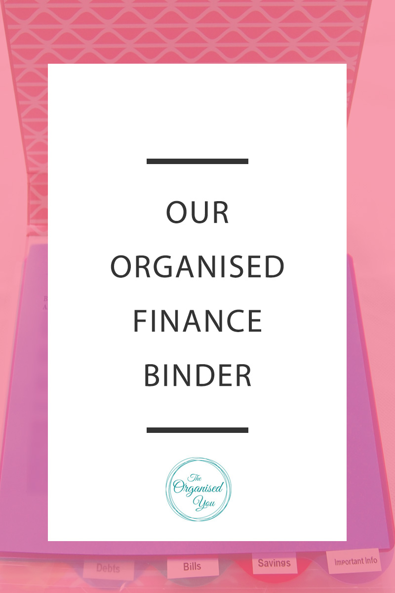 Our Organised Finance Binder - a finance binder is a great place to store all your financincial information in one, easy-to-access spot. Use it to store upcoming bills or billing schedule, your debt repayments as well as information about your financial institution. Click through to read how we set ours up!