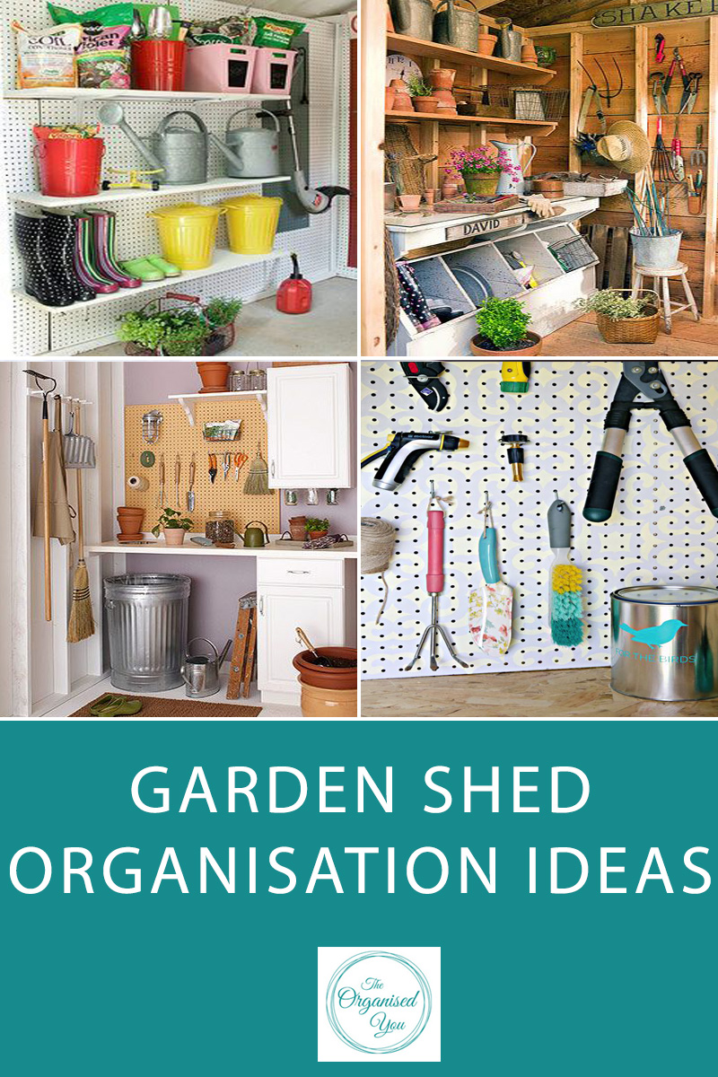 Garden Shed Organisation Ideas - garden sheds and garages are notorious for being disorganised and messy spaces. I've rounded up some inspiring ideas for organised garden sheds, a place to keep your gardening tools, equipment and 'bits and pieces' organised and easily accessible. Click through to be inspired!